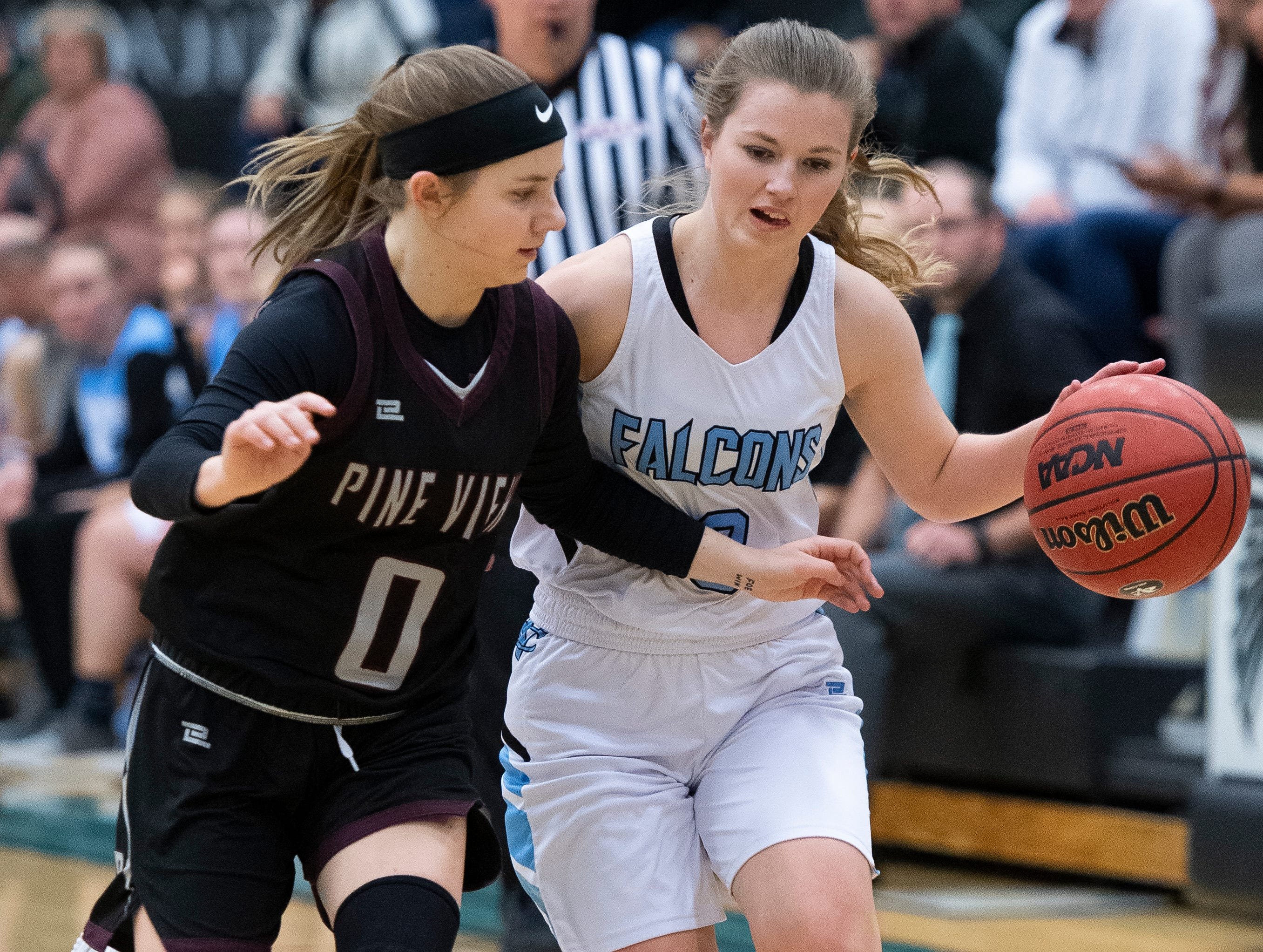Pine View High School junior Sophia Jensen (0) and Canyon View High School senior Shayla Johnson (3) battle mid-court at CVHS Tuesday, January 15, 2019. The CVHS Falcons won, 48-46.