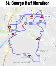 The St. George Half Marathon starts at the Dixie Center and circles most of the city. Organizers expect about 2,000 runners to participate this year.