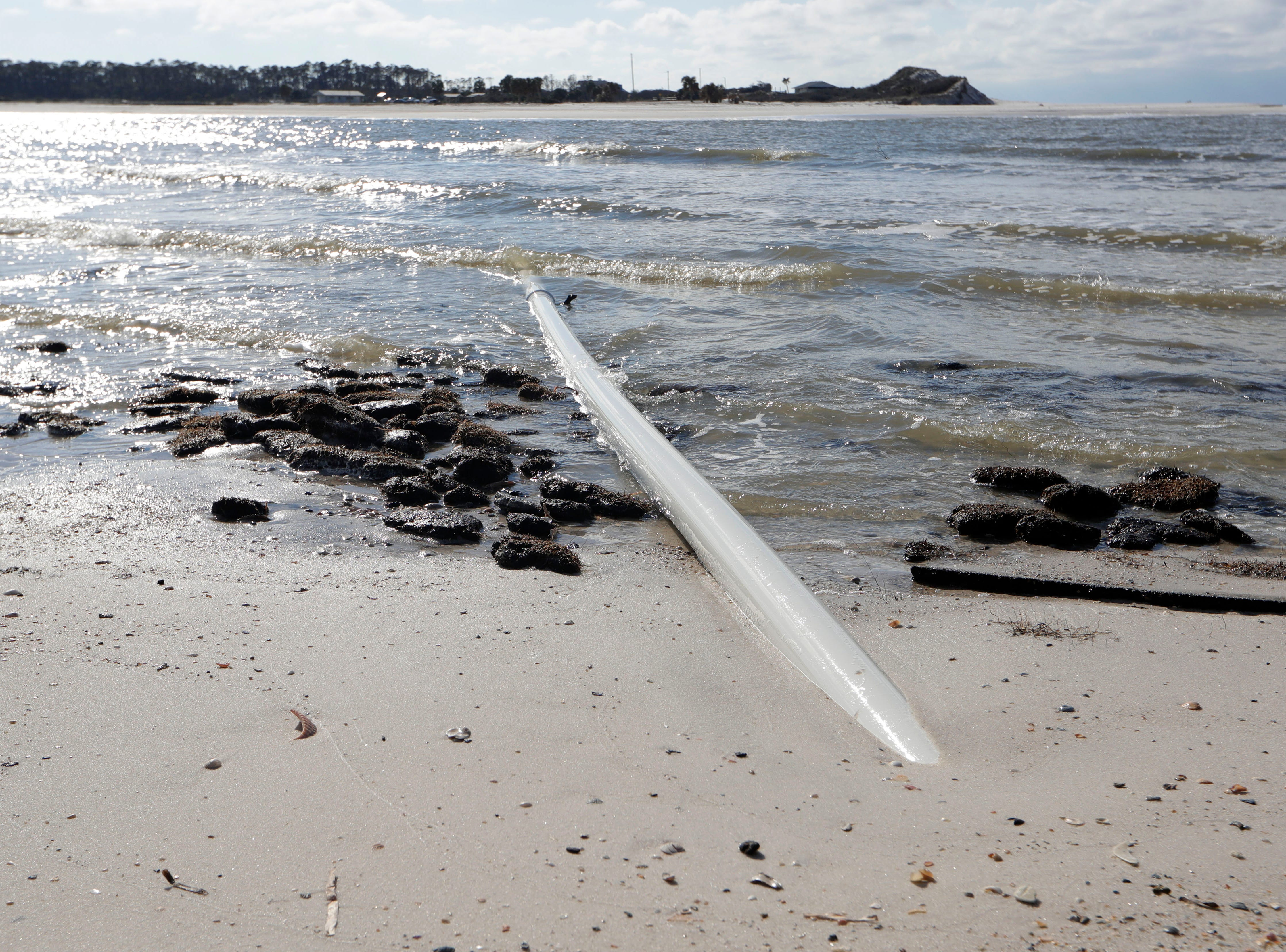 The water line on St. Joseph Peninsula State Park, which was once buried under the sand, is now visible throughout the park, Monday, Jan. 14, 2019. Hurricane Michael caused a massive storm surge which uncovered utility piping and washed massive amounts of sand out to sea.