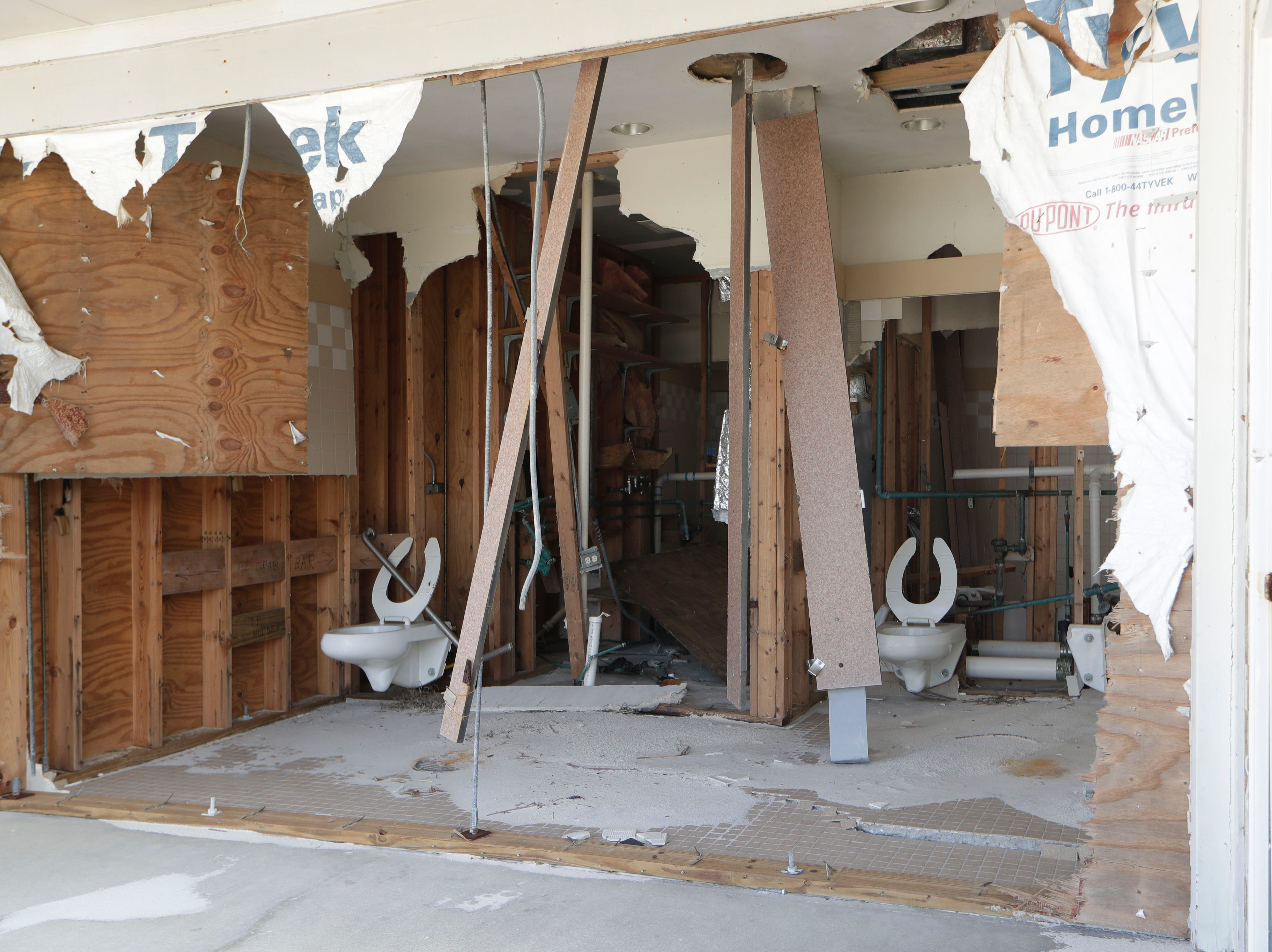 One of the bathrooms in  St. Joseph Peninsula State Park still stands, Monday, Jan. 14, 2019, but needs to be remodeled due to the damage Hurricane Michael caused.