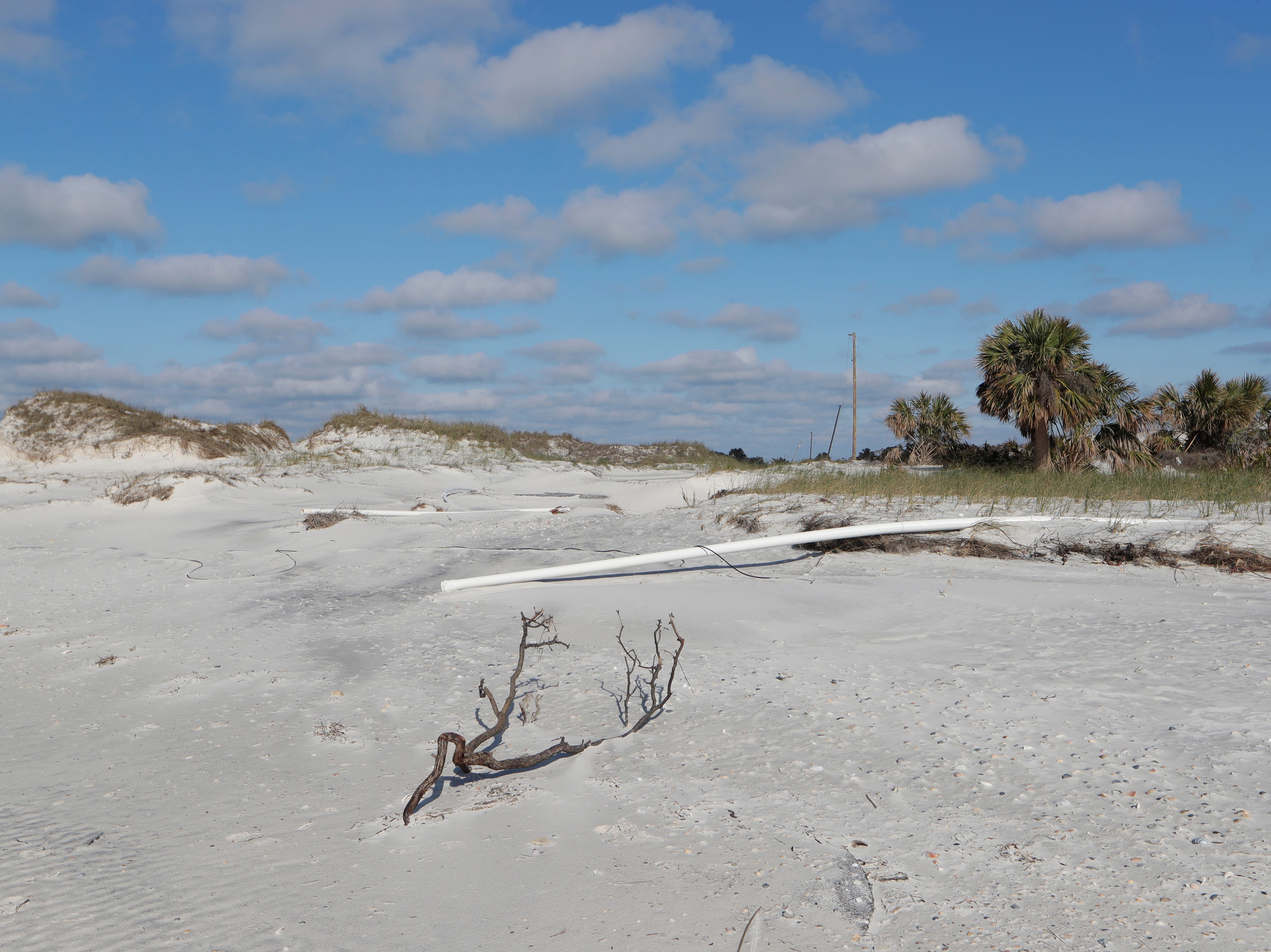 Pipes for the water line on St. Joseph Peninsula State Park, Monday, Jan. 14, 2019, are no longer connected to on another and the road has been completely washed away due to Hurricane Michael.