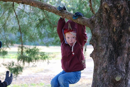 A young volunteer enjoying a tree at the 2018 Arbor Day event.