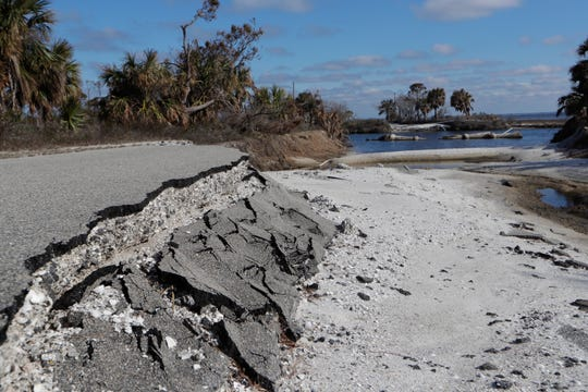The worst parts of the damage caused to St. Joseph Peninsula State Park by Hurricane Michael are found deeper within the park. A roadway connecting to land masses was washed away. A favorite spot for artists to visit is impassable by car now, Monday, Jan. 14, 2019.