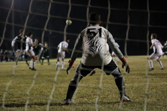 Chiles goalie Abraheim Darwish watches for a Lincoln shot attempt in the final minutes of the Timberwolves' 2-1 win at Lincoln on Jan. 15, 2019.