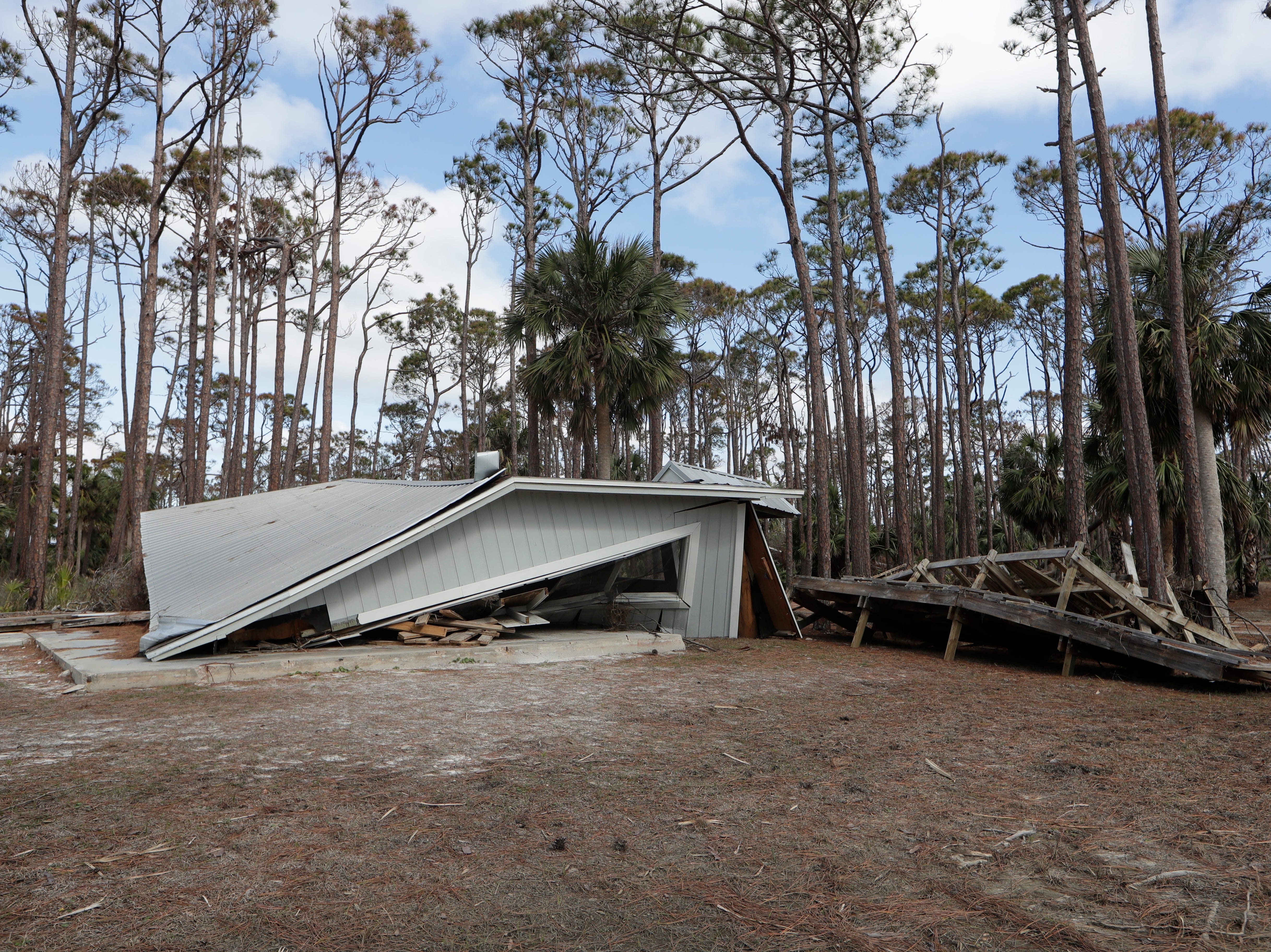 A pavilion in St. Joseph Peninsula State Park seen on Monday, Jan. 14, 2019, was left flattened by Hurricane Michael on Oct. 10, 2018.