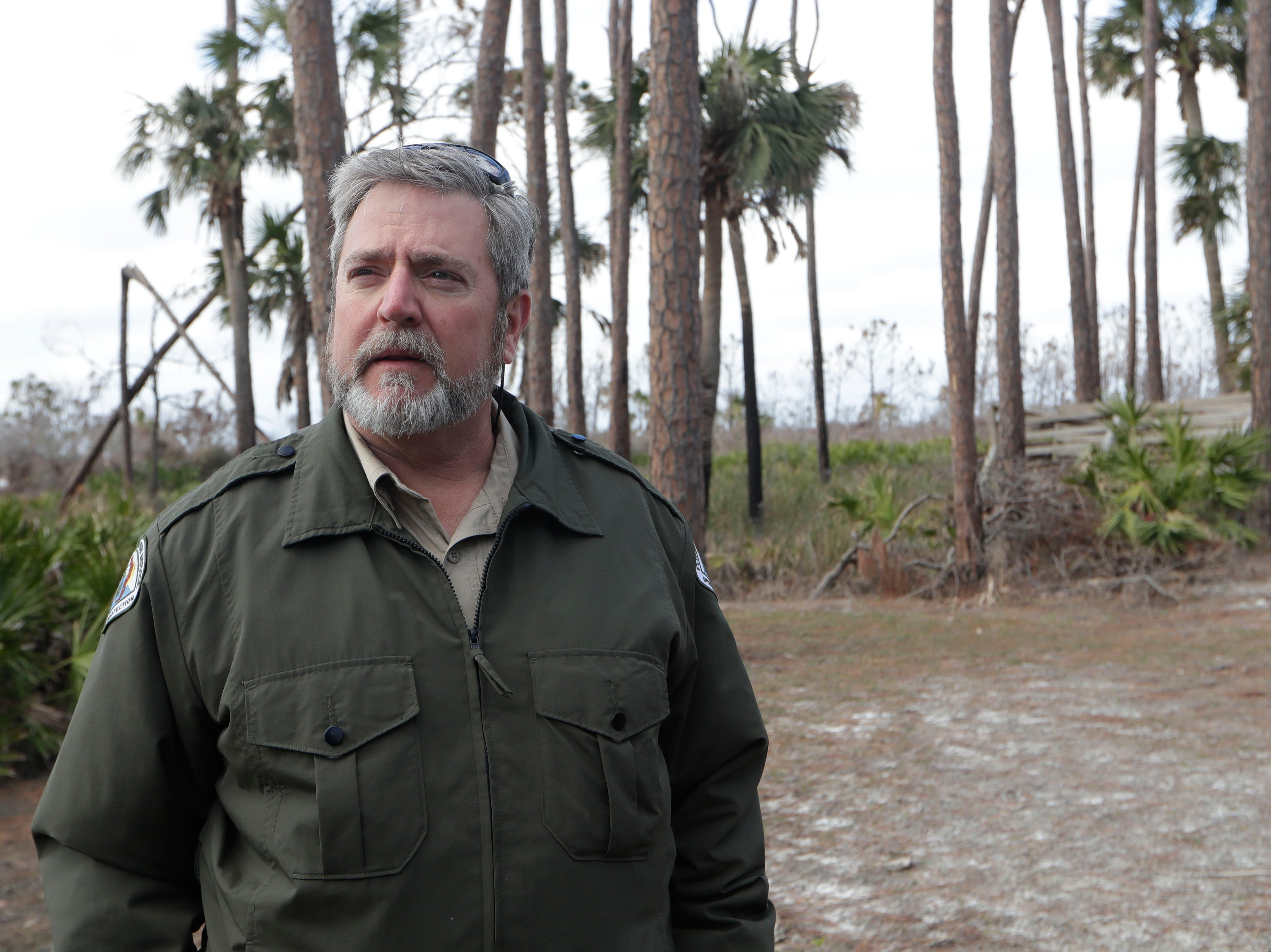Warren Poplin, bureau chief for the Florida Department of Environmental Protection, talks about what steps need to be taken to be able to fully reopen St. Joseph Peninsula State Park, Monday, Jan. 14, 2019.