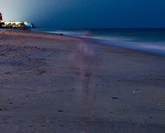 Paranormal activity meets history on the Indian River Hauntings ghost tours in Fellsmere, Vero Beach and Sebastian. This January 2018 photo shows a figure on the beach next to the Driftwood Resort.