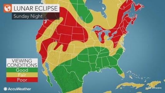 A super blood wolf moon will be visible Sunday night to most of the United States. Cloudy conditions, however, might prevent Southwest Florida residents from seeing it.
