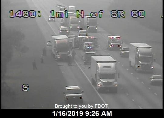 A crash with injuries is blocking two lanes on northbound I-95 north of State Road 60 in Indian River County Jan. 16, 2019.