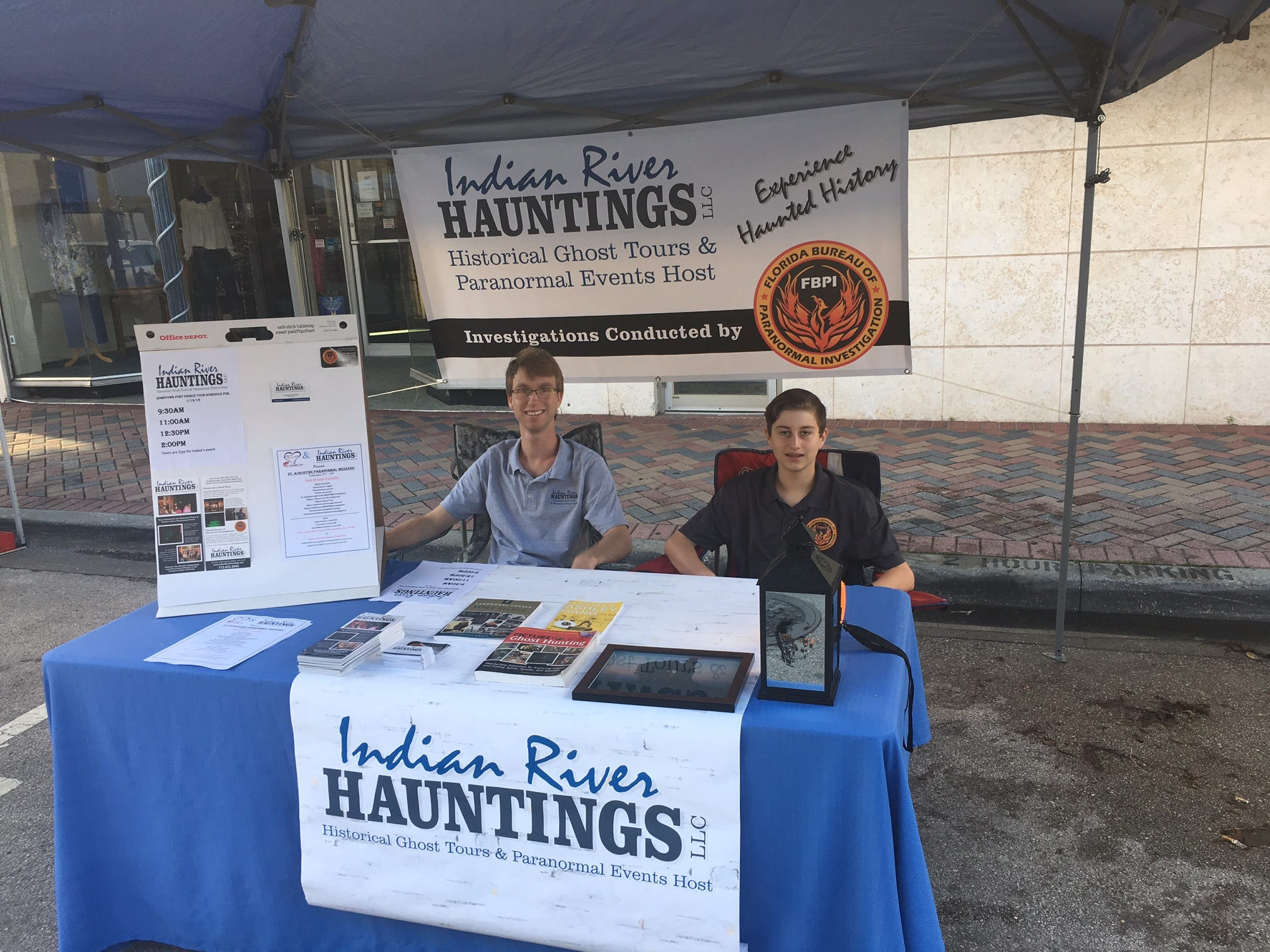 Paranormal activity meets history on the Indian River Hauntings ghost tours in Fellsmere, Vero Beach and Sebastian. Investigator Larry Lawson's son, Ryan, and nephew, Liam Ritchie, man the booth at the Treasure Coast History Festival.