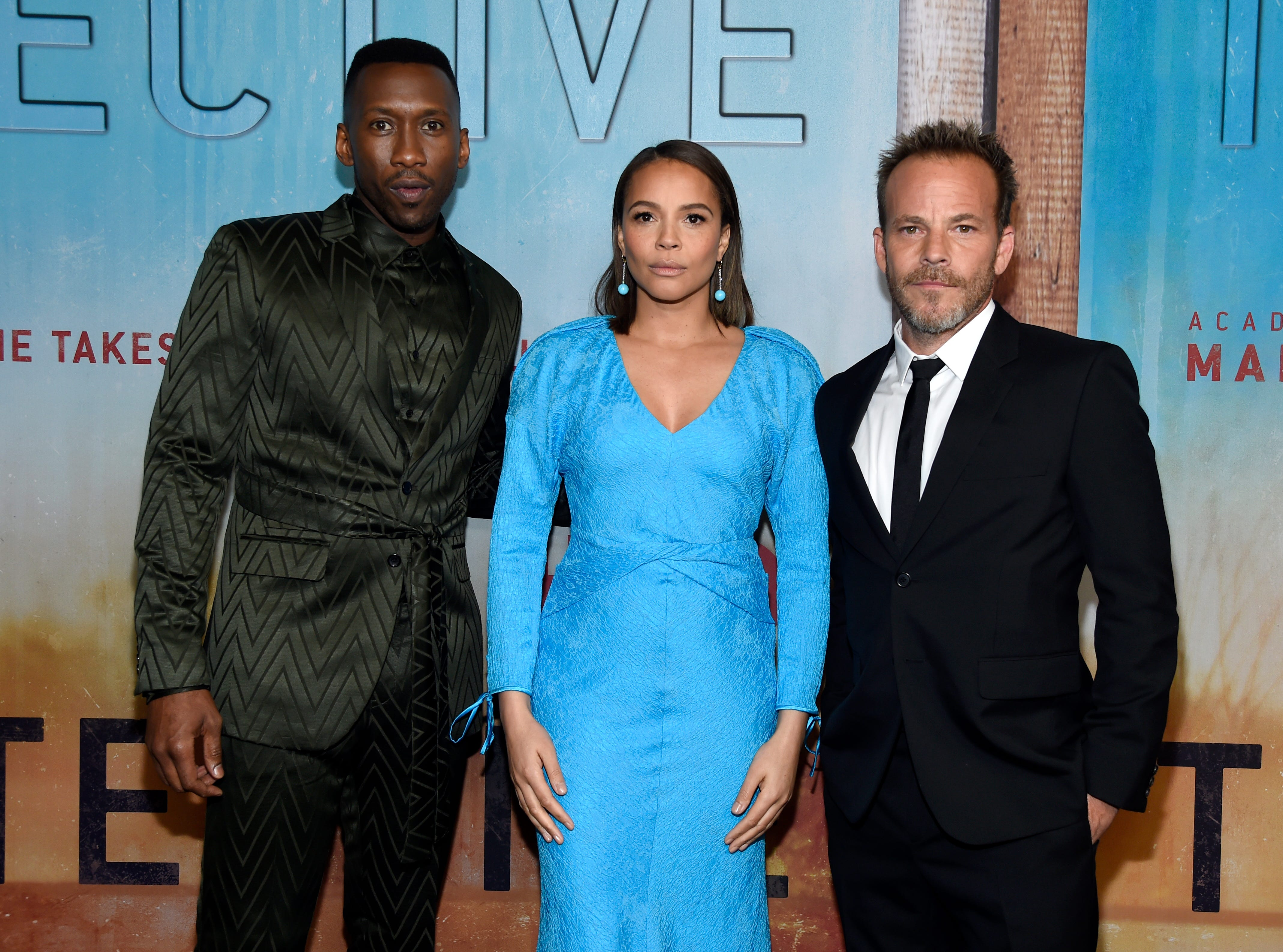 """Mahershala Ali, from left, Carmen Ejogo and Stephen Dorff arrive at the Los Angeles premiere of """"True Detective"""" season 3 at the Directors Guild of America on Thursday, Jan. 10, 2019."""