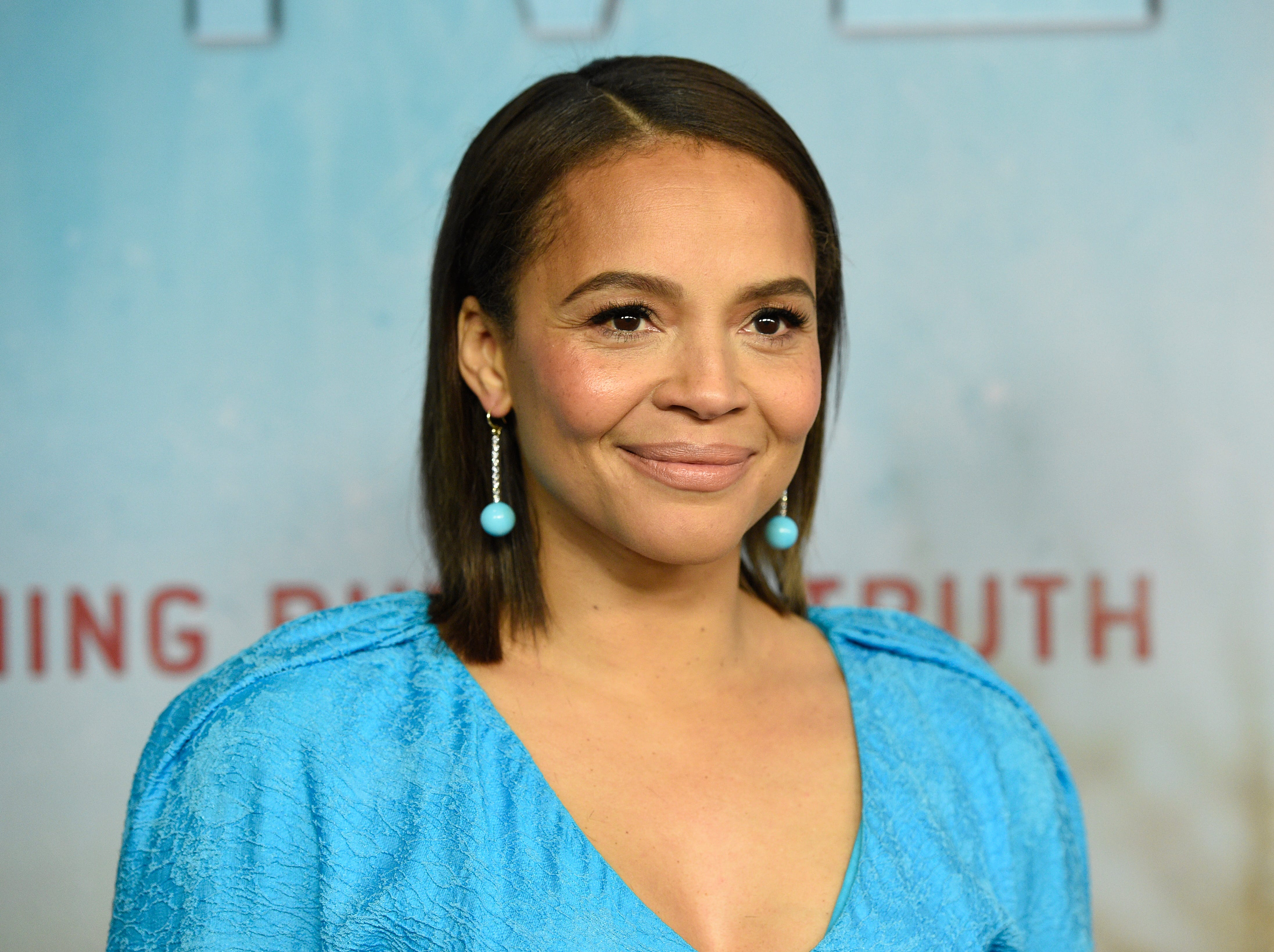 """Carmen Ejogo arrives at the Los Angeles premiere of """"True Detective"""" season 3 at the Directors Guild of America on Thursday, Jan. 10, 2019."""