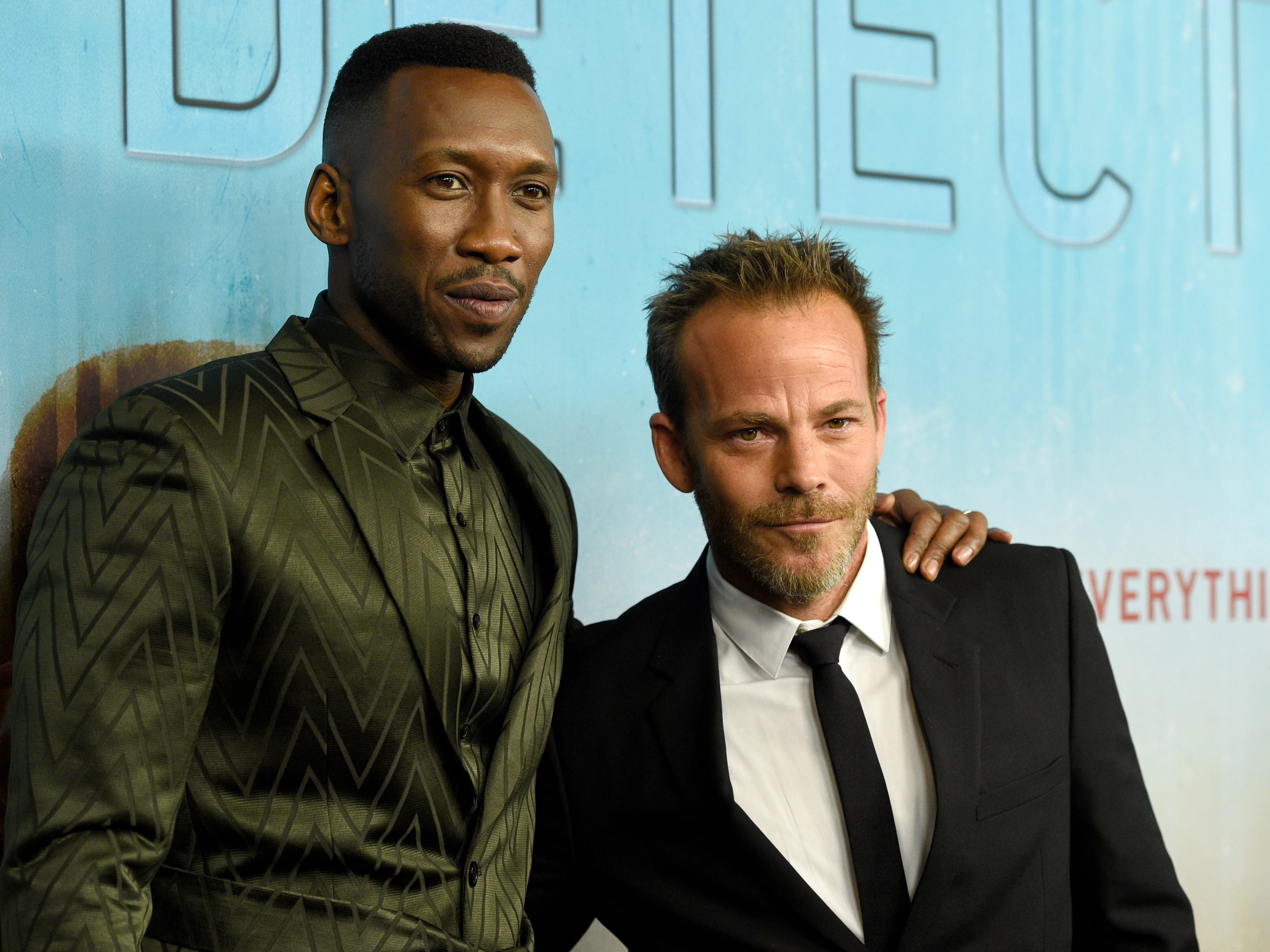"""Mahershala Ali, left, and Stephen Dorff arrive at the Los Angeles premiere of """"True Detective"""" season 3 at the Directors Guild of America on Thursday, Jan. 10, 2019."""