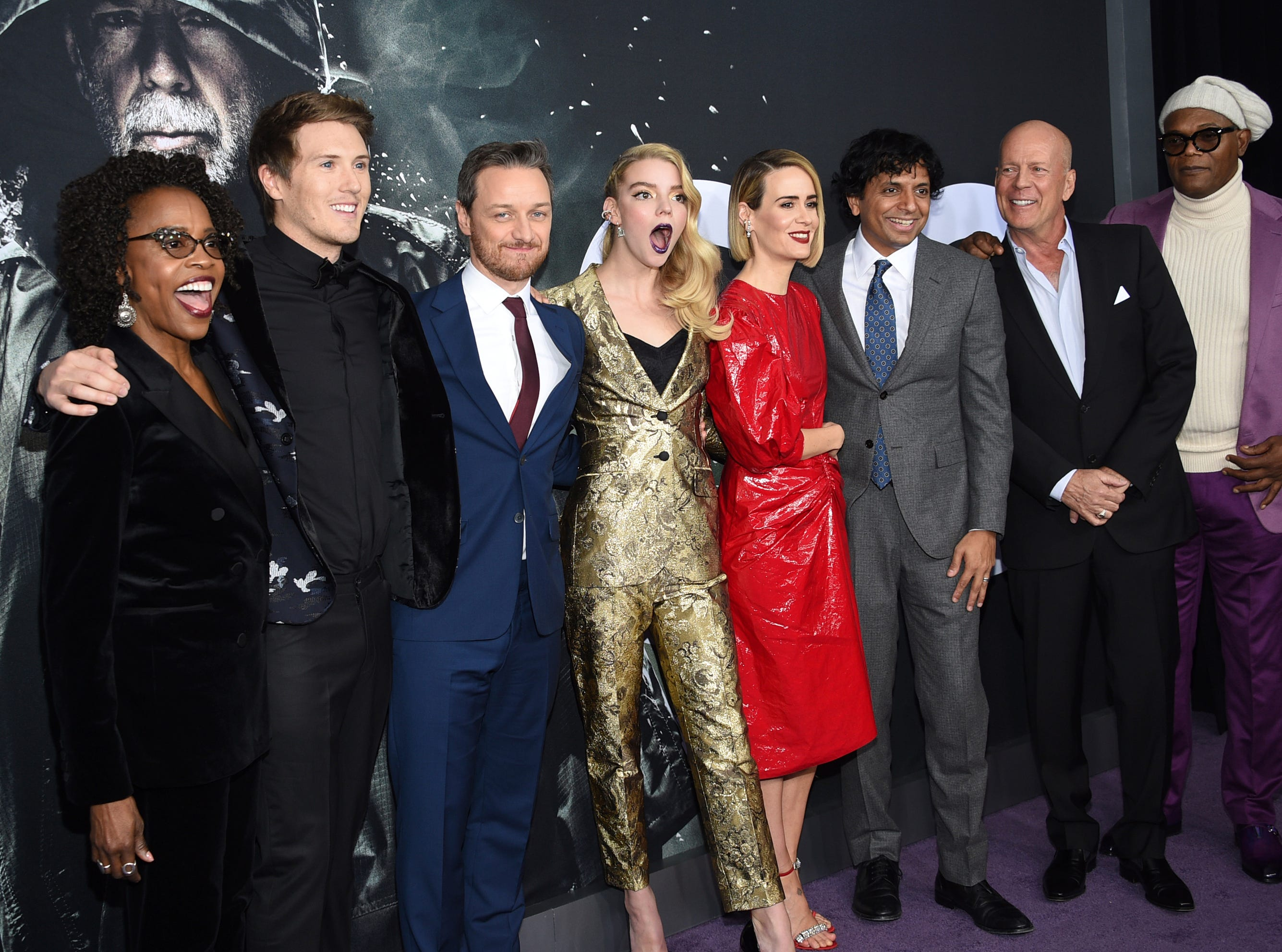 """Charlayne Woodard, from left, Spencer Treat Clark, James McAvoy, Anya Taylor-Joy, Sarah Paulson, M. Night Shyamalan, Bruce Willis and Samuel L. Jackson attend the premiere of """"Glass"""" at the SVA Theatre on Tuesday, Jan. 15, 2019, in New York."""