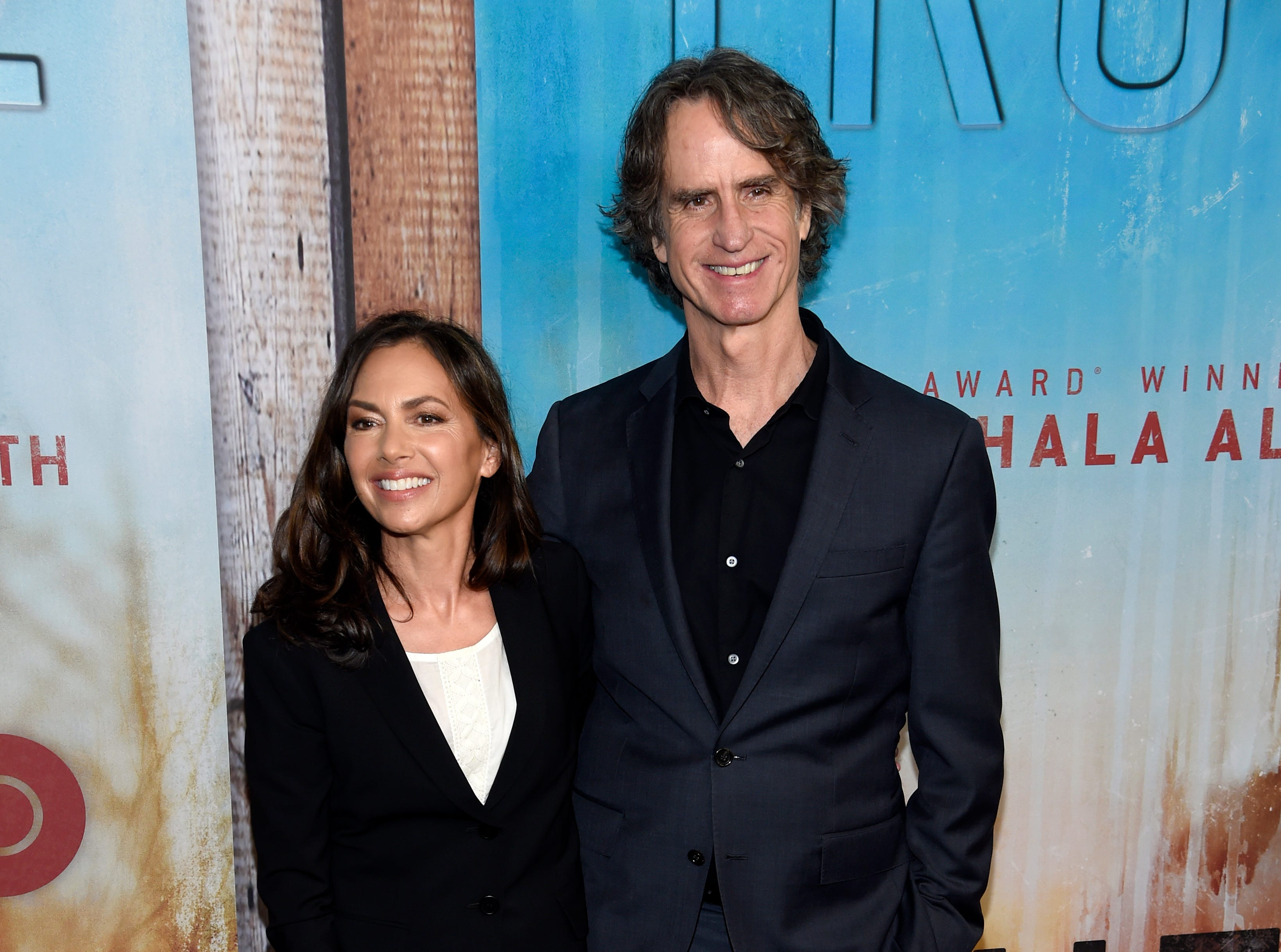 """Susanna Hoffs, left, and Jay Roach arrive at the Los Angeles premiere of """"True Detective"""" season 3 at the Directors Guild of America on Thursday, Jan. 10, 2019."""
