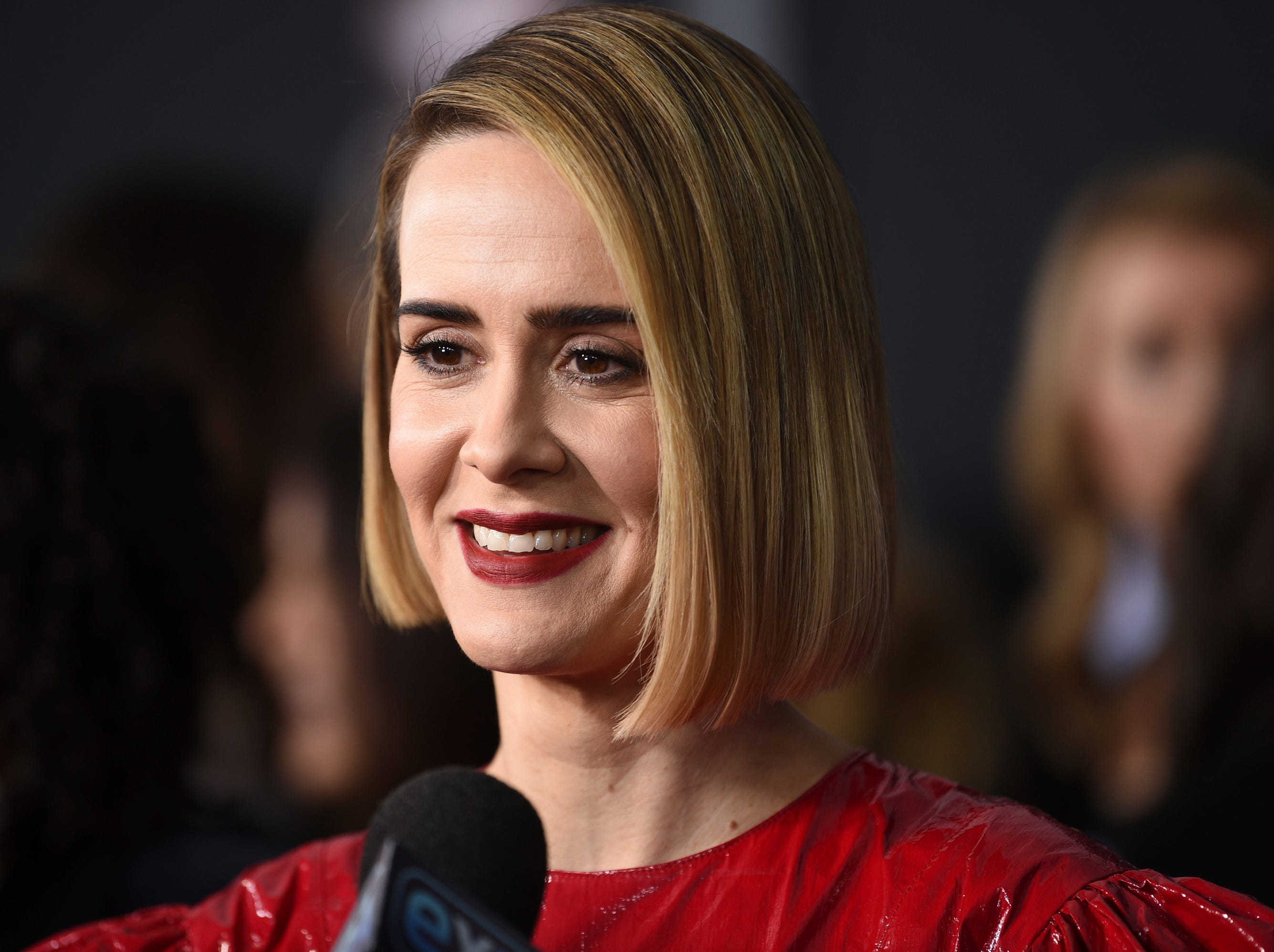 """Sarah Paulson speaks with journalists as she attends the premiere of """"Glass"""" at the SVA Theatre on Tuesday, Jan. 15, 2019, in New York."""