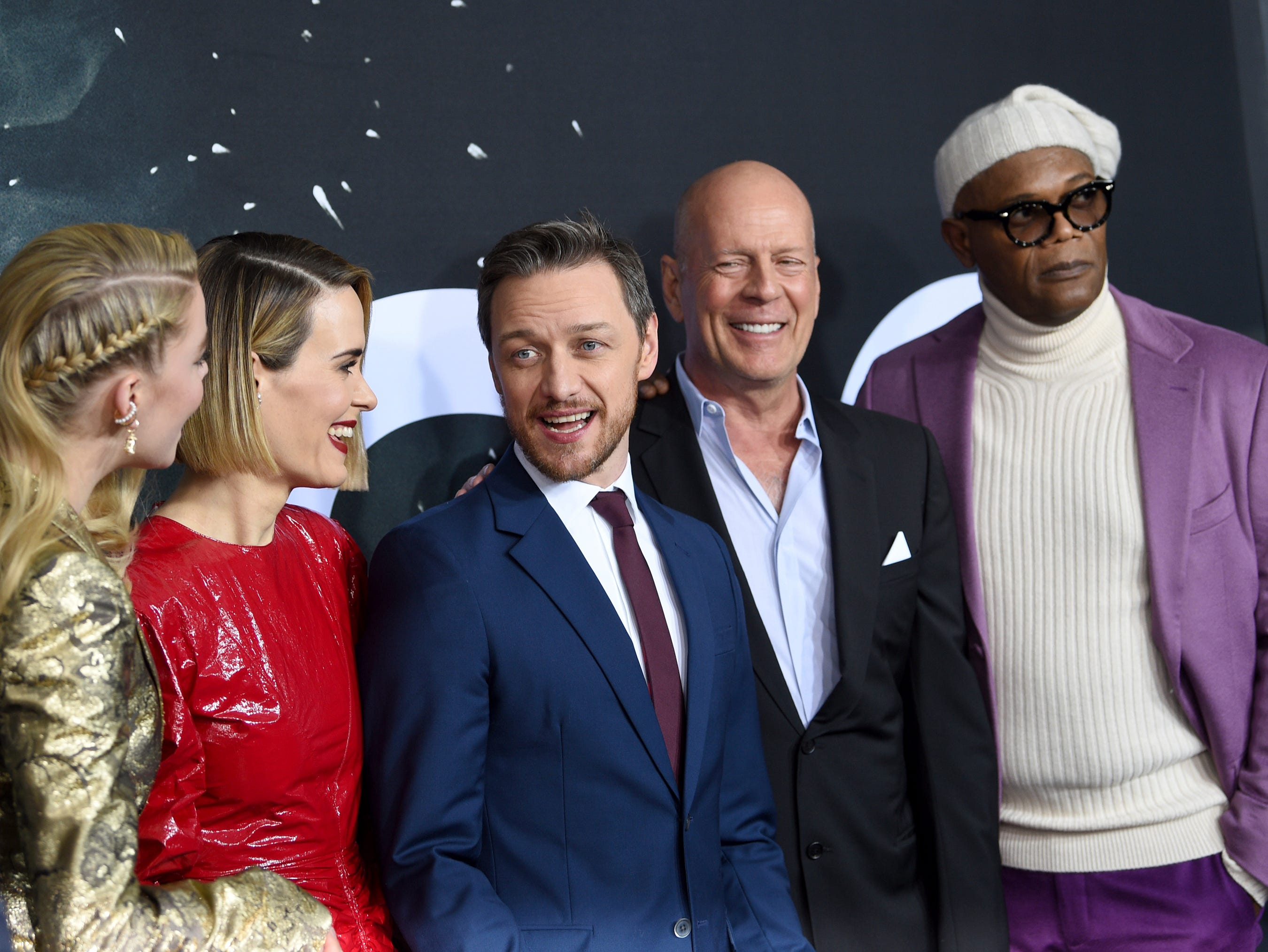 """Anya Taylor-Joy, from left, Sarah Paulson, James McAvoy, Bruce Willis and Samuel L. Jackson attend the premiere of """"Glass"""" at the SVA Theatre on Tuesday, Jan. 15, 2019, in New York."""