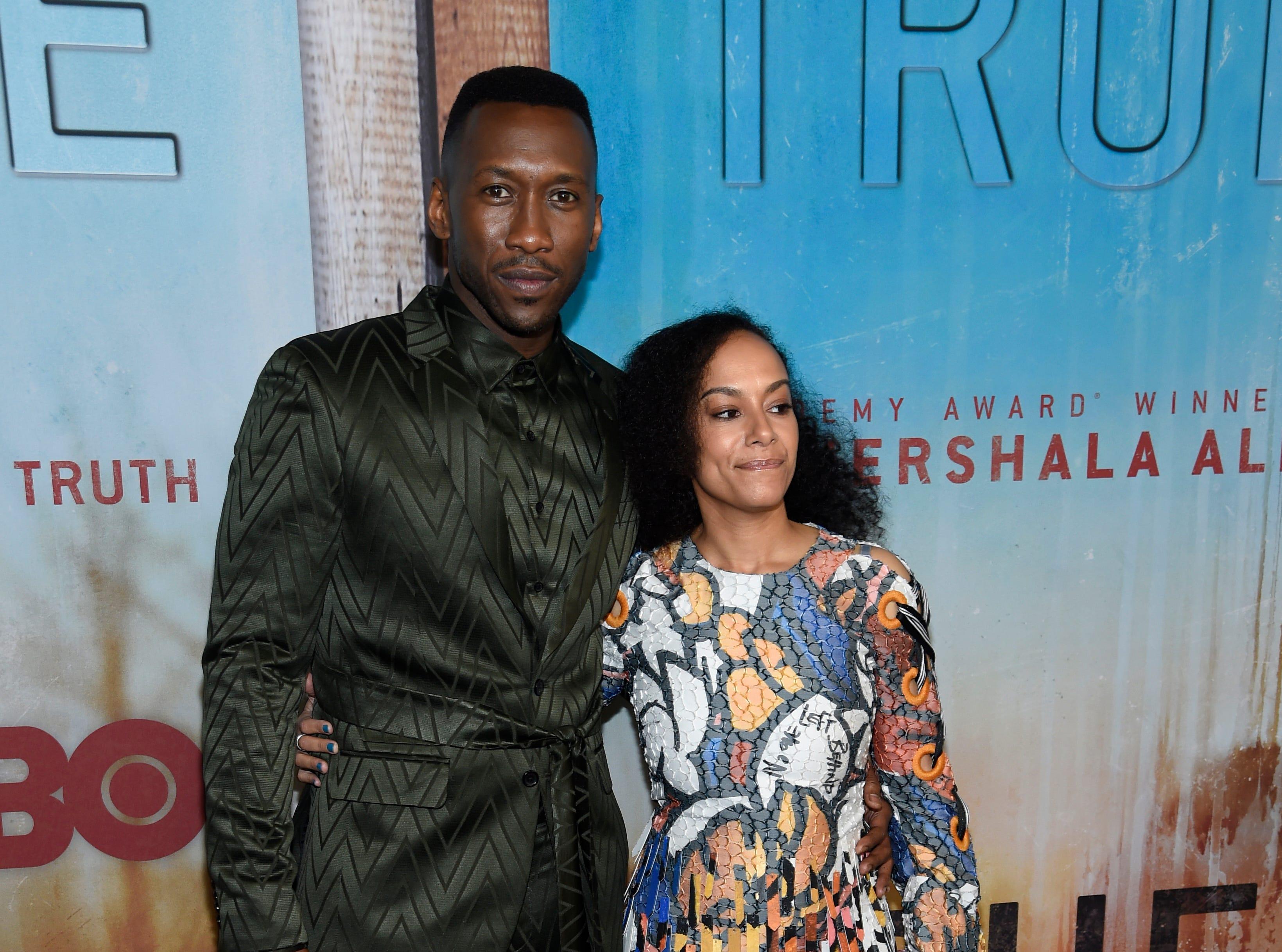 "Mahershala Ali, left, and Amatus Sami-Karim arrive at the Los Angeles premiere of ""True Detective"" season 3 at the Directors Guild of America on Thursday, Jan. 10, 2019."