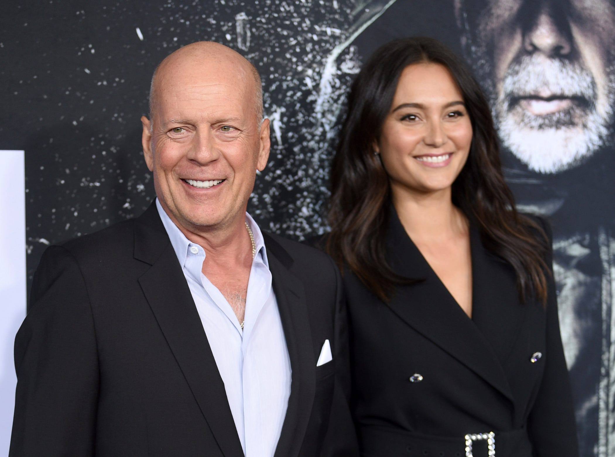 """Bruce Willis, left, and Emma Heming attend the premiere of """"Glass"""" at the SVA Theatre on Tuesday, Jan. 15, 2019, in New York."""