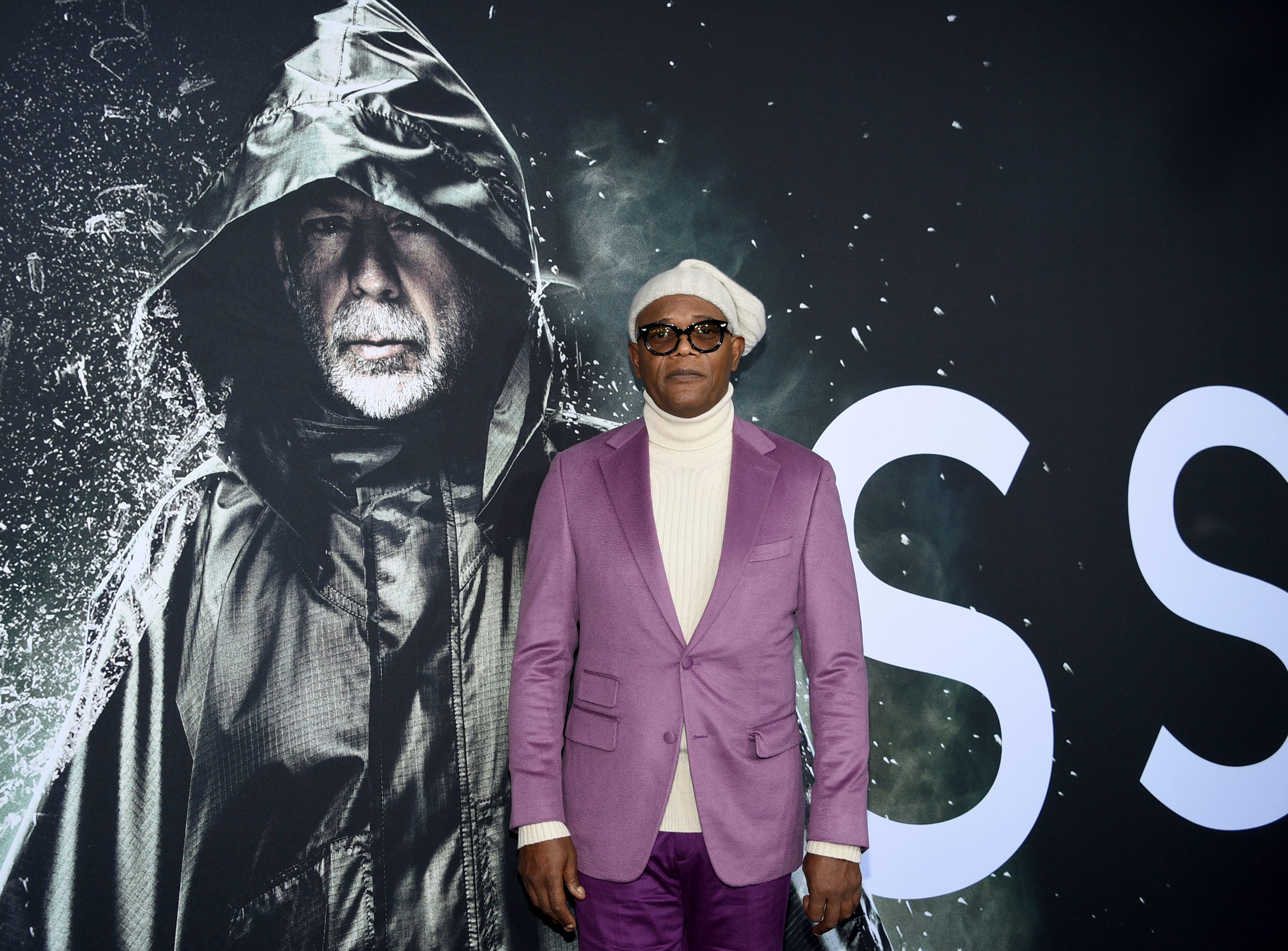 """Samuel L. Jackson attends the premiere of """"Glass"""" at the SVA Theatre on Tuesday, Jan. 15, 2019, in New York."""