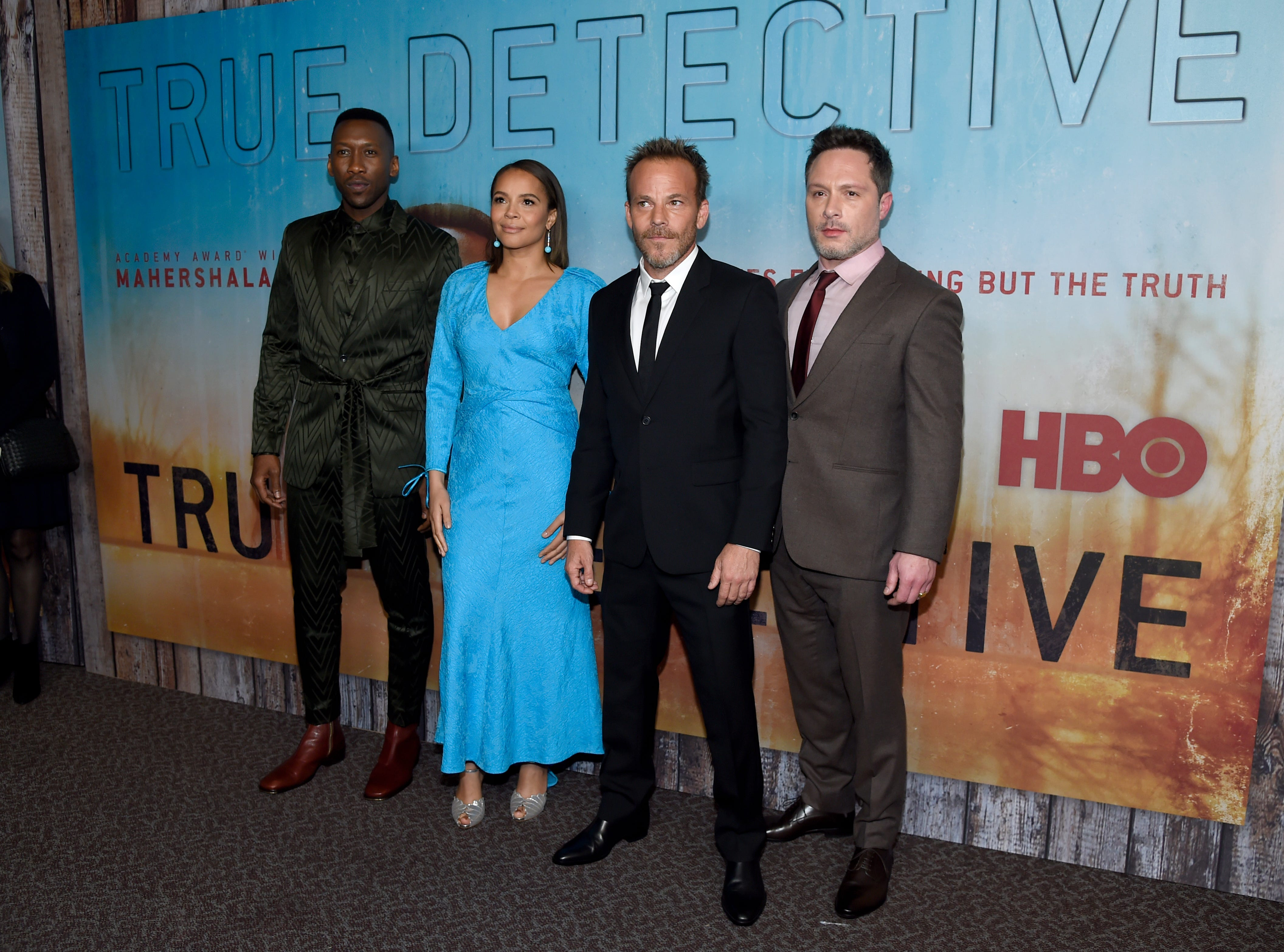 """Mahershala Ali, from left, Carmen Ejogo, Stephen Dorff and creator/executive producer Nic Pizzolatto arrive at the Los Angeles premiere of """"True Detective"""" season 3 at the Directors Guild of America on Thursday, Jan. 10, 2019."""