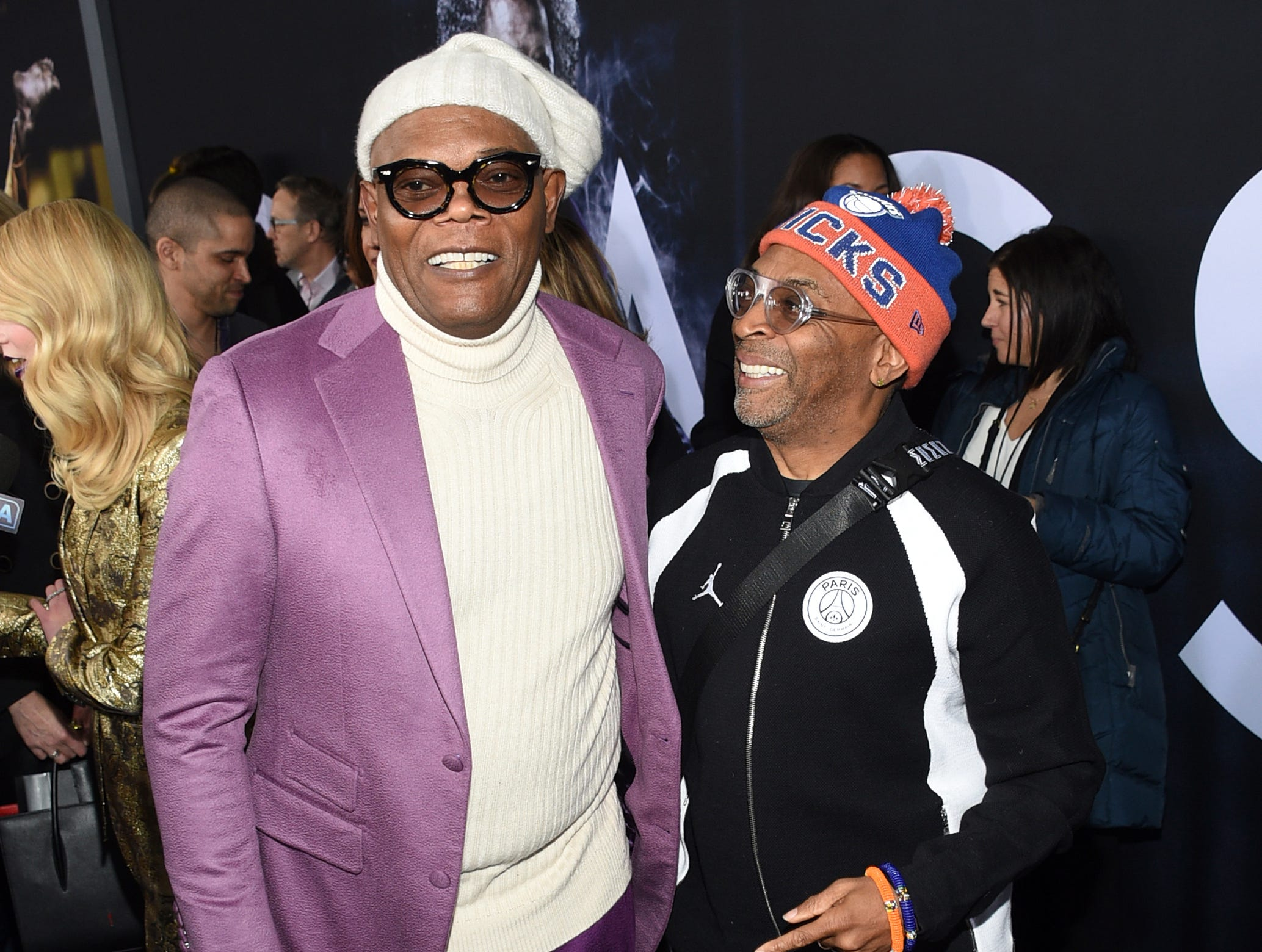 """Samuel L. Jackson, left, and Spike Lee attend the premiere of """"Glass"""" at the SVA Theatre on Tuesday, Jan. 15, 2019, in New York."""