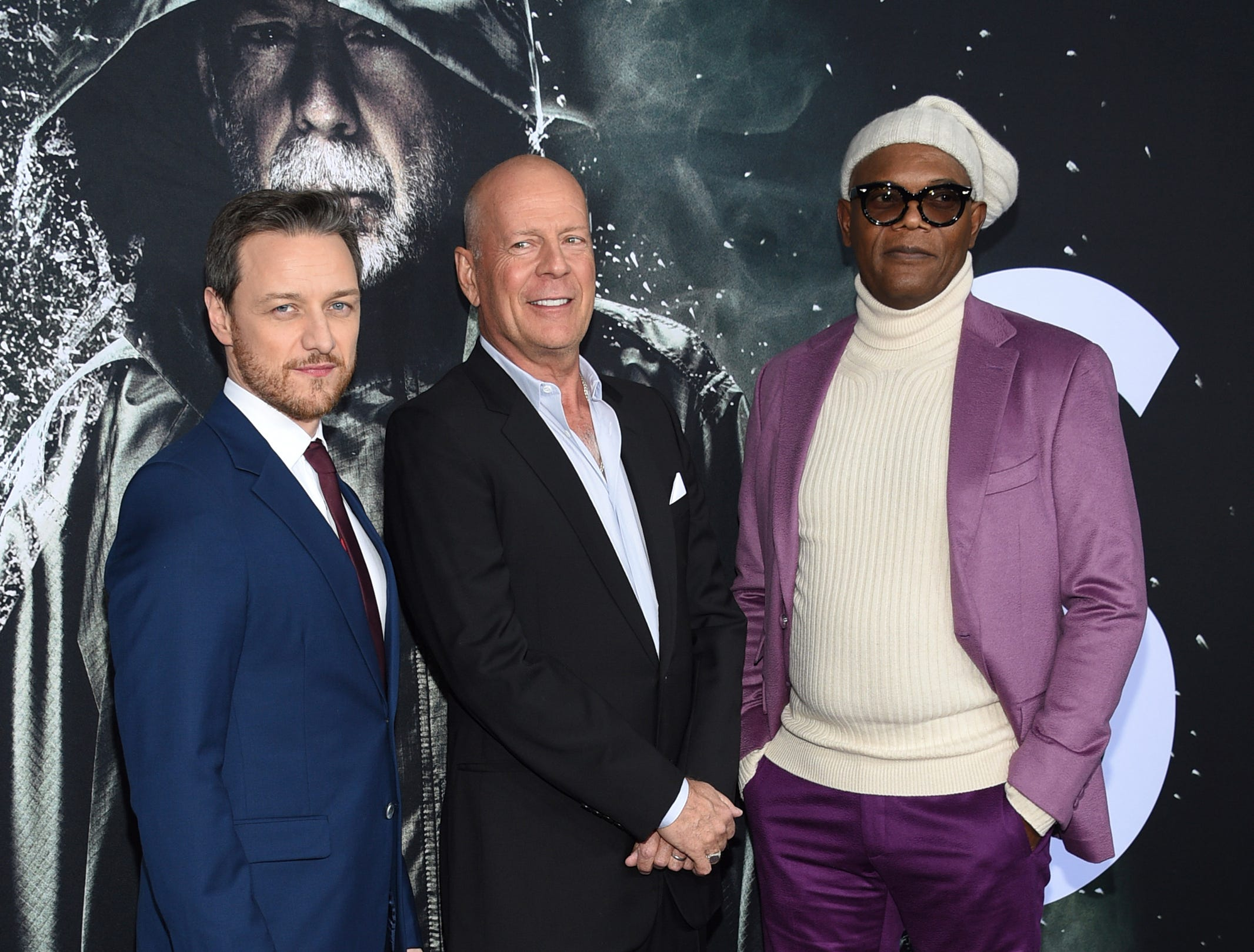 """James McAvoy, from left, Bruce Willis and Samuel L. Jackson attend the premiere of """"Glass"""" at the SVA Theatre on Tuesday, Jan. 15, 2019, in New York."""