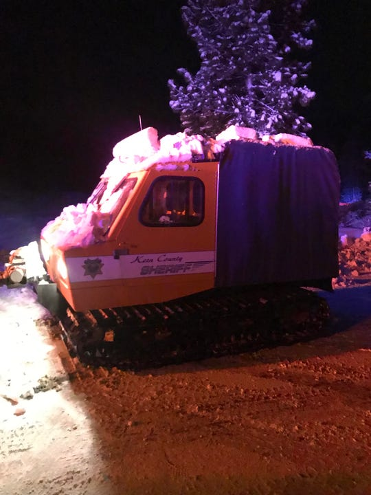 Snowcats were used Monday to reach a camper stranded by snow near the Ventura and Kern county lines.