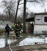Vineland firefighters extinguish a fire at Vineland Hills Community, off the 1300 block of North East Bouelvard in Vineland, on Jan. 16.