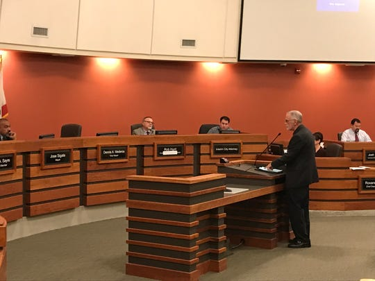 Kevin Northcraft, Tulare hospital board president, speaks to council during Tuesday's meeting.