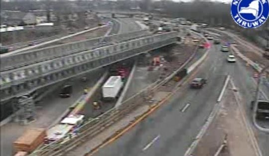 The scene on northbound Interstate 95 where a box truck and car collided near Midland Avenue on the Rye-Port Chester border, Wednesday, Jan. 16, 2019. It is seen in a state Thruway Authority traffic camera image.