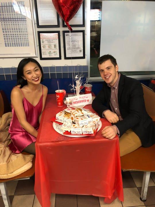 A couple celebrates Valentine's Day at White Castle.