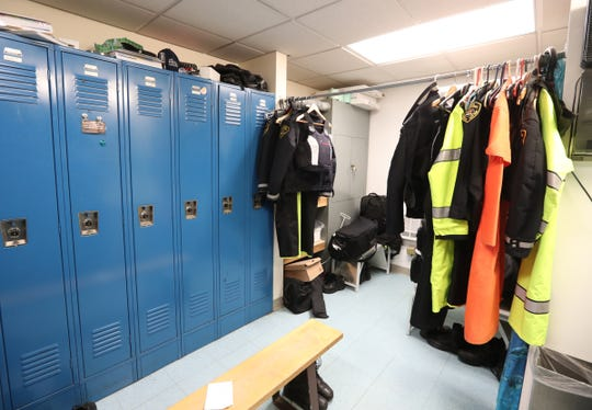 The overcrowded female locker room at the Greenburgh Police Headquarters on Wednesday, January 16, 2019.