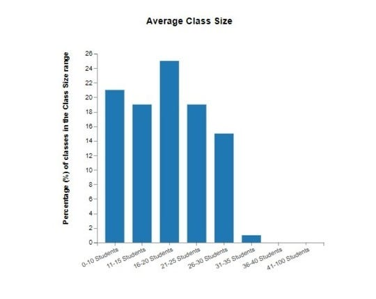 Graphs show average class sizes.
