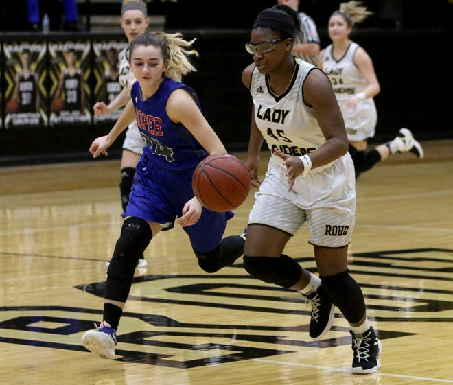 Wichita Fall Rider's Laeschelle Wright dribbles in the game while Cooper's Meri Tetaj defends on Tuesday, Jan. 15, 2019, at Rider.