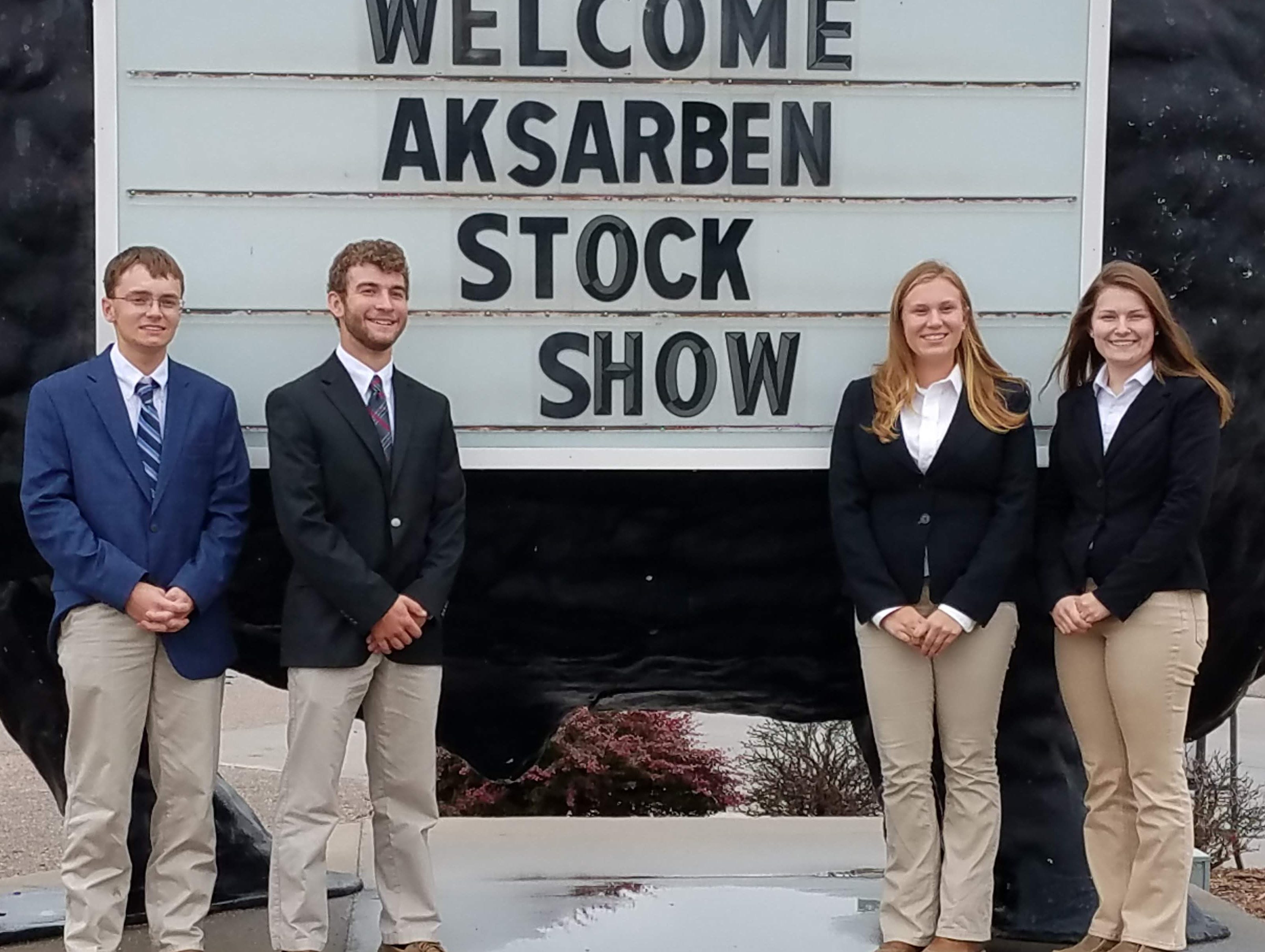 The Jefferson County placed 17th at the Aksarben Livestock Judging event in Nebraska. Team members are (from left) Trevor Messmer, Colton Klecker, Alexis Schultz, Danielle Chwala.  Klecker placed 21st overall in beef judging. The team is coached by Ed Bielinski.