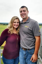 Tony Mellenthin pictured with wife, Katie, has been farming since 2011 while still a student at the UW-River Falls.  Since joining the family's Dunn County crop farm, the business has grown from 4000 acres to almost 7000 acres.  At the same time Tony grew his personal business from 40 acres to a projected 150 acres this year.