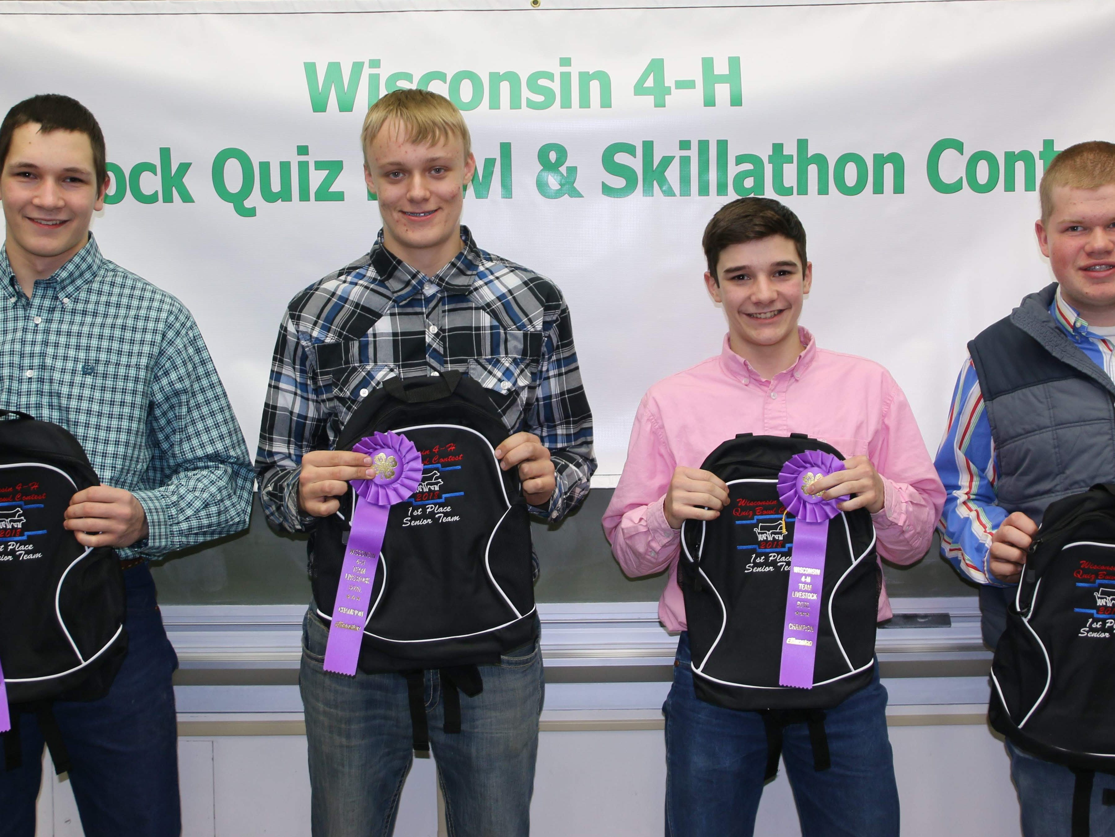 Representing Wisconsin at the Aksarben Livestock Quizbowl were Columbia County team members (from left) Justin Taylor, Zach Mickelson, Hayden Taylor and Tyler Cross.  They are coached by Todd Taylor.
