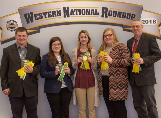 Grant County competed in the meats judging event at the Western National Roundup in Denver, Co., From left, Blake Wegmueller, Kendra Jentz, Cora Kleist, and Abby Meier. The team is coached by Dennis Patterson.
