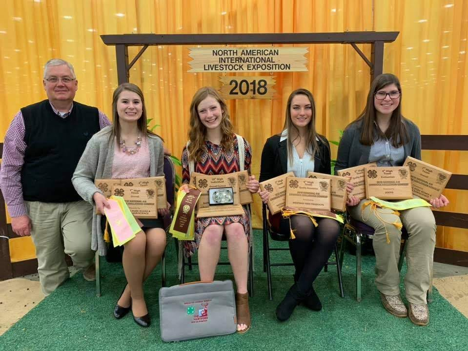 Marathon County 4-H Livestock Skillathon team placed 7th overall at tje North American International Livestock Exposition in Lousiville, Ky., with Kailen Smerchek (center) earning All-American status by finishing 10th overall. From left, coach Mark Zimmerman, Emilie Pauls, Stephanie Witberler, Smerchek, and Cortney Zimmerman.