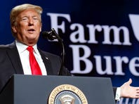 President Donald Trump speaks at the American Farm Bureau Federation's 100th Annual Convention, Monday Jan. 14, 2019, in New Orleans.
