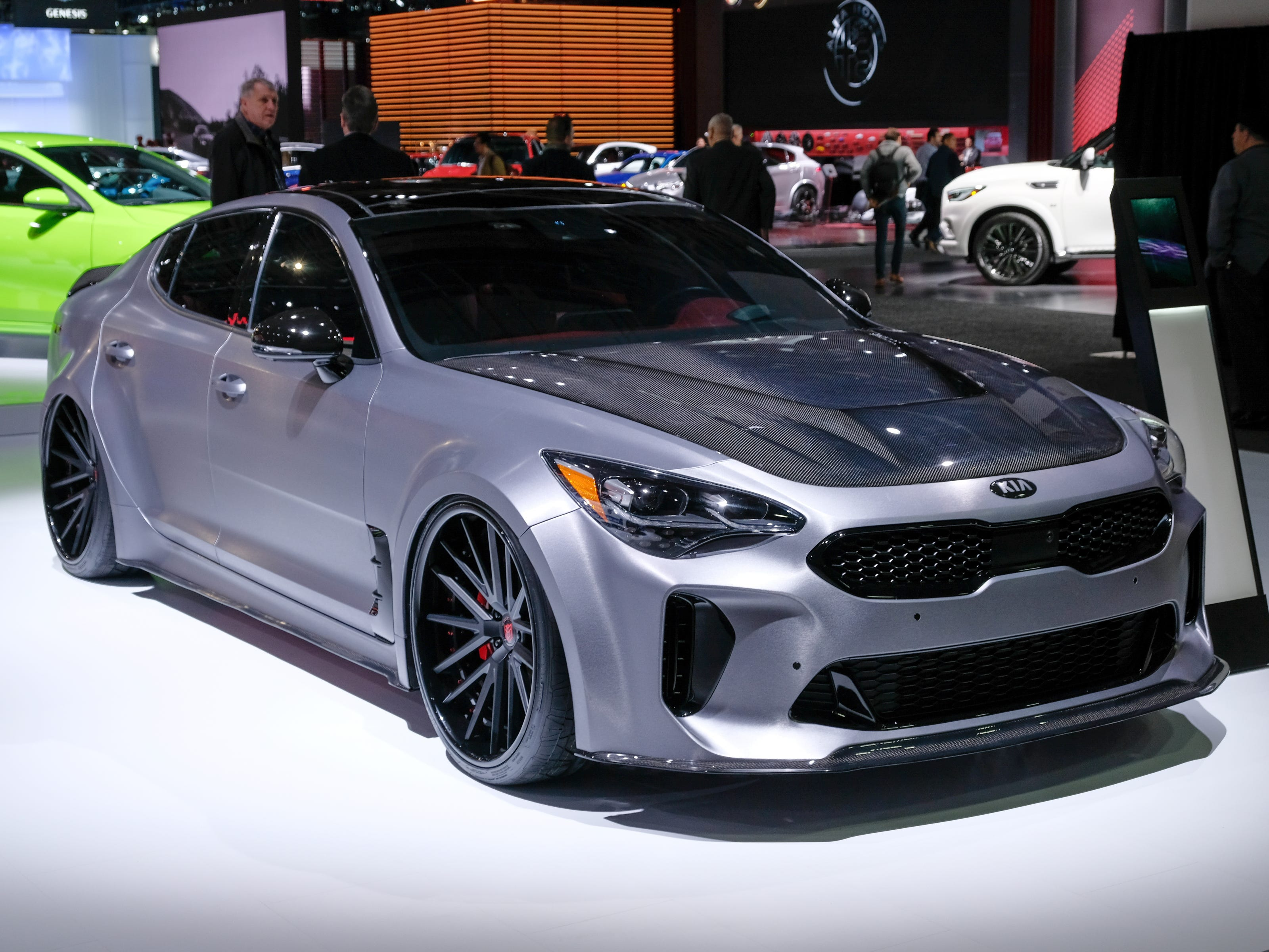 A 2019 Kia DUB Stinger is seen on display during the 2019 North American International Auto Show held at Cobo Center in downtown Detroit on Tuesday, Jan. 15, 2019.  (Via OlyDrop)