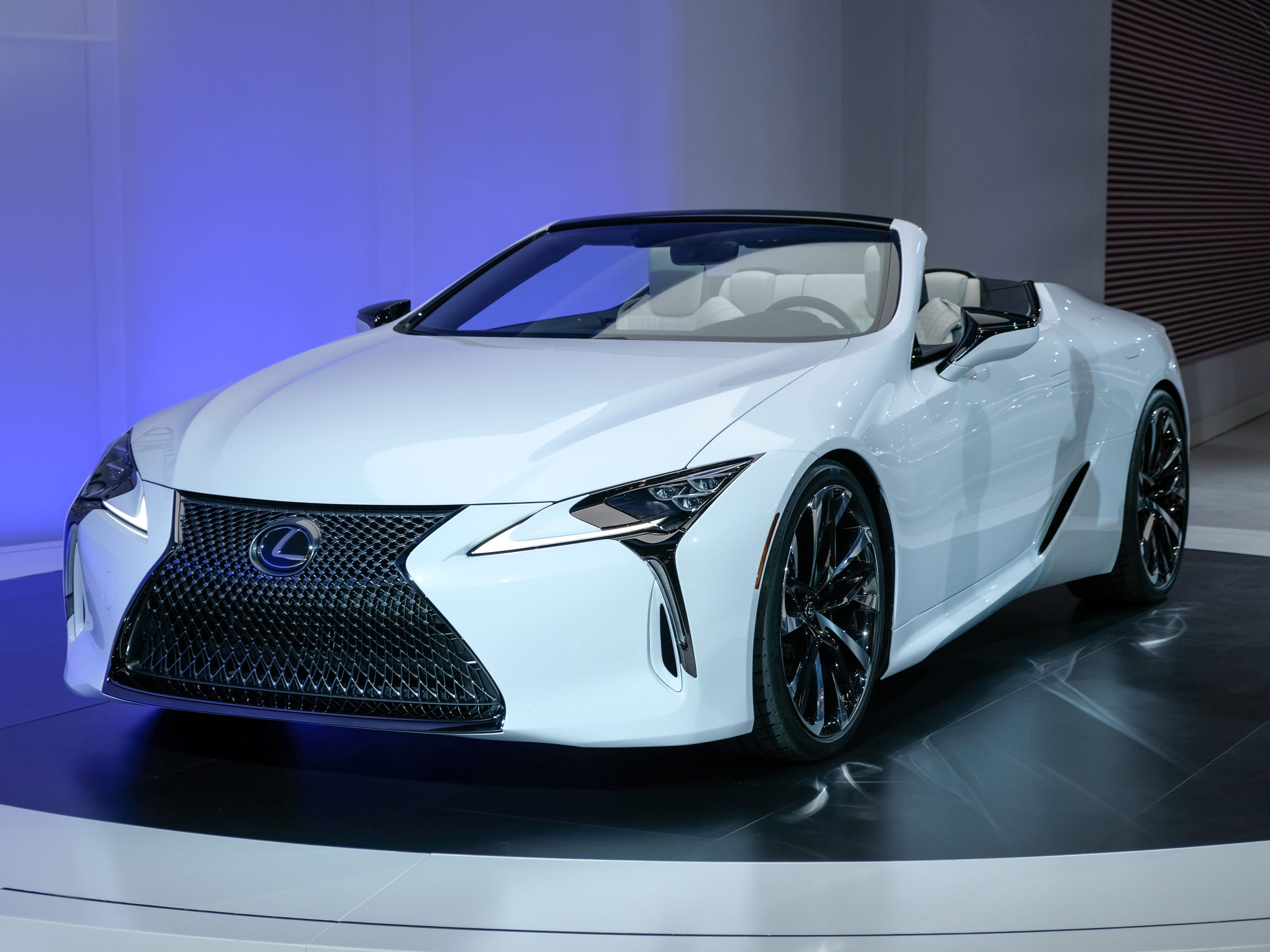 A Lexus LC Convertible Concept sits on the stage during the 2019 North American International Auto Show held at Cobo Center in downtown Detroit on Tuesday, Jan. 15, 2019.  (Via OlyDrop)