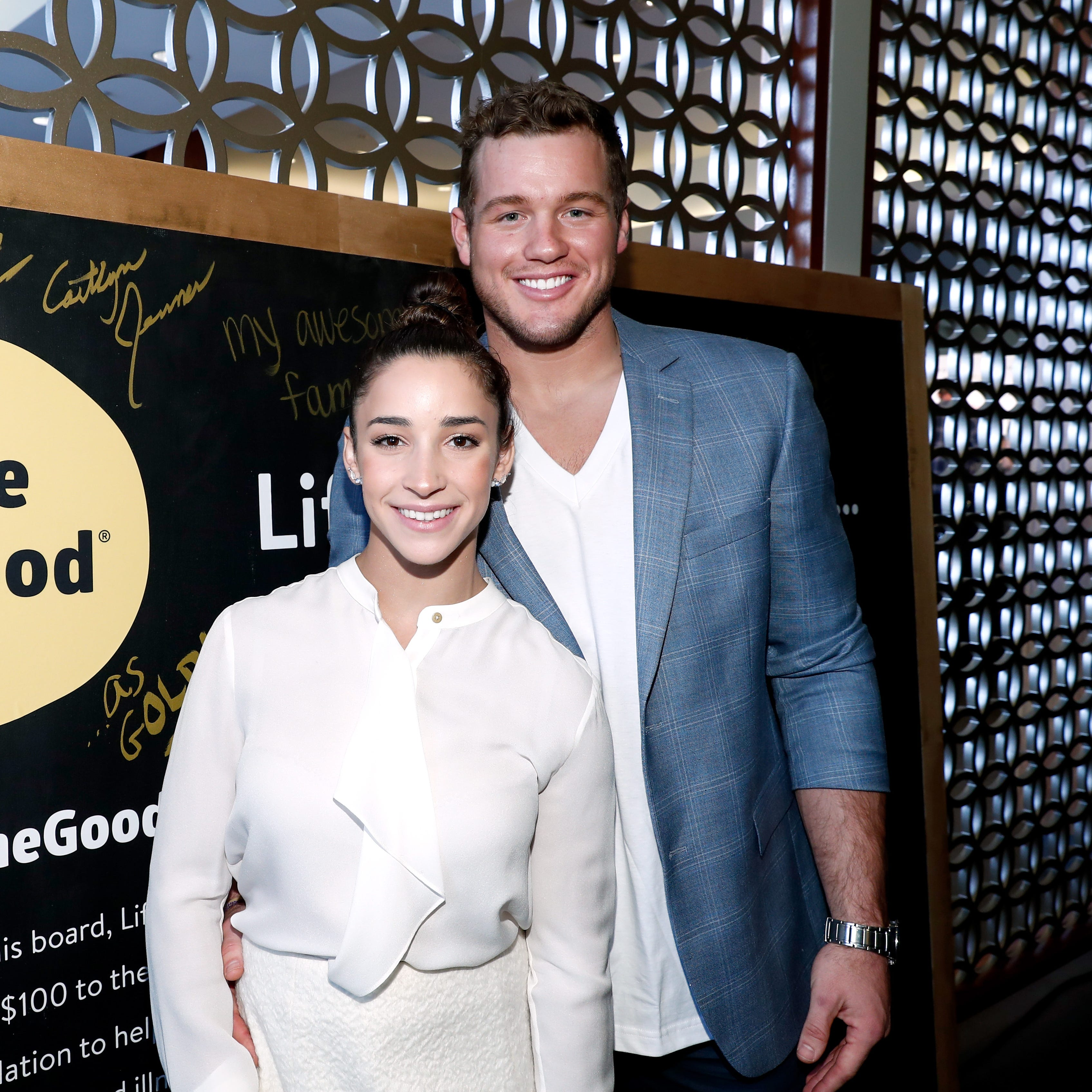 LOS ANGELES, CA - JANUARY 07:  NFL player Colton Underwood and Olympic athlete Aly Raisman attend Life is Good at GOLD MEETS GOLDEN Event at Equinox on January 7, 2017 in Los Angeles, California.  (Photo by Rich Polk/Getty Images for Life is Good) ORG XMIT: 691496203 ORIG FILE ID: 631159766