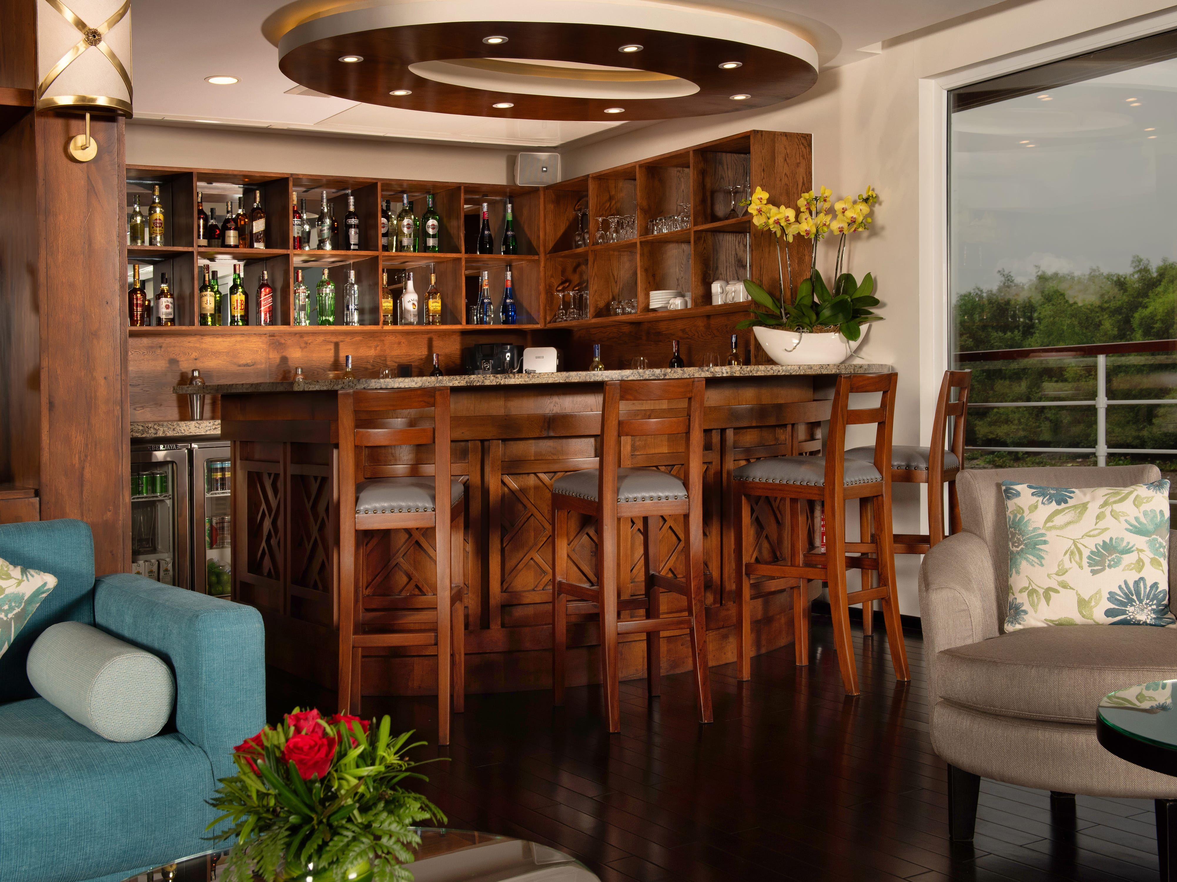 A cozy bar can be found in a corner of Avalon Saigon's main lounge.