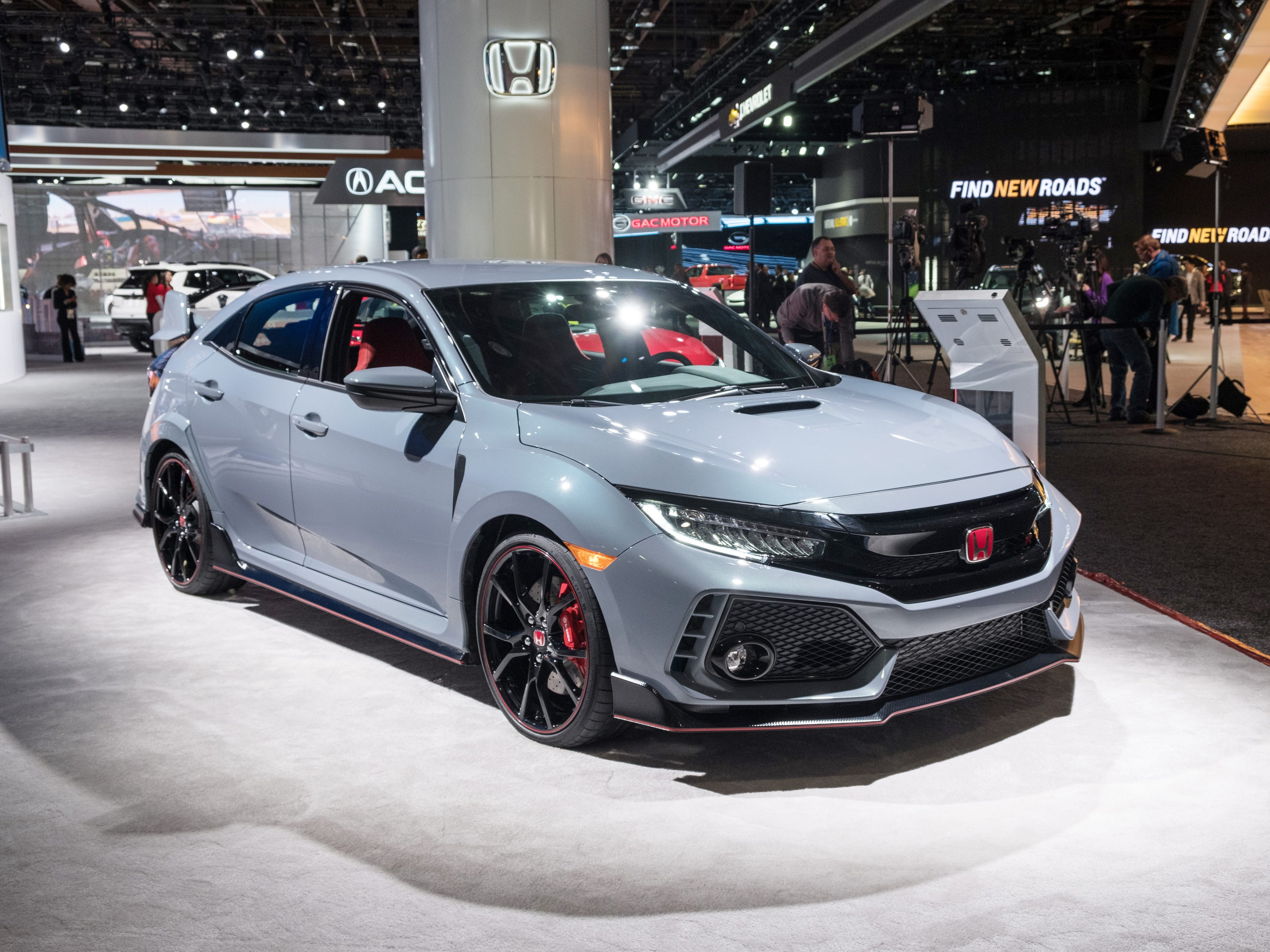 A 2019 Honda Civic Type R is on display during the 2019 North American International Auto Show held at Cobo Center in downtown Detroit on Tuesday, Jan. 15, 2019.  (Via OlyDrop)
