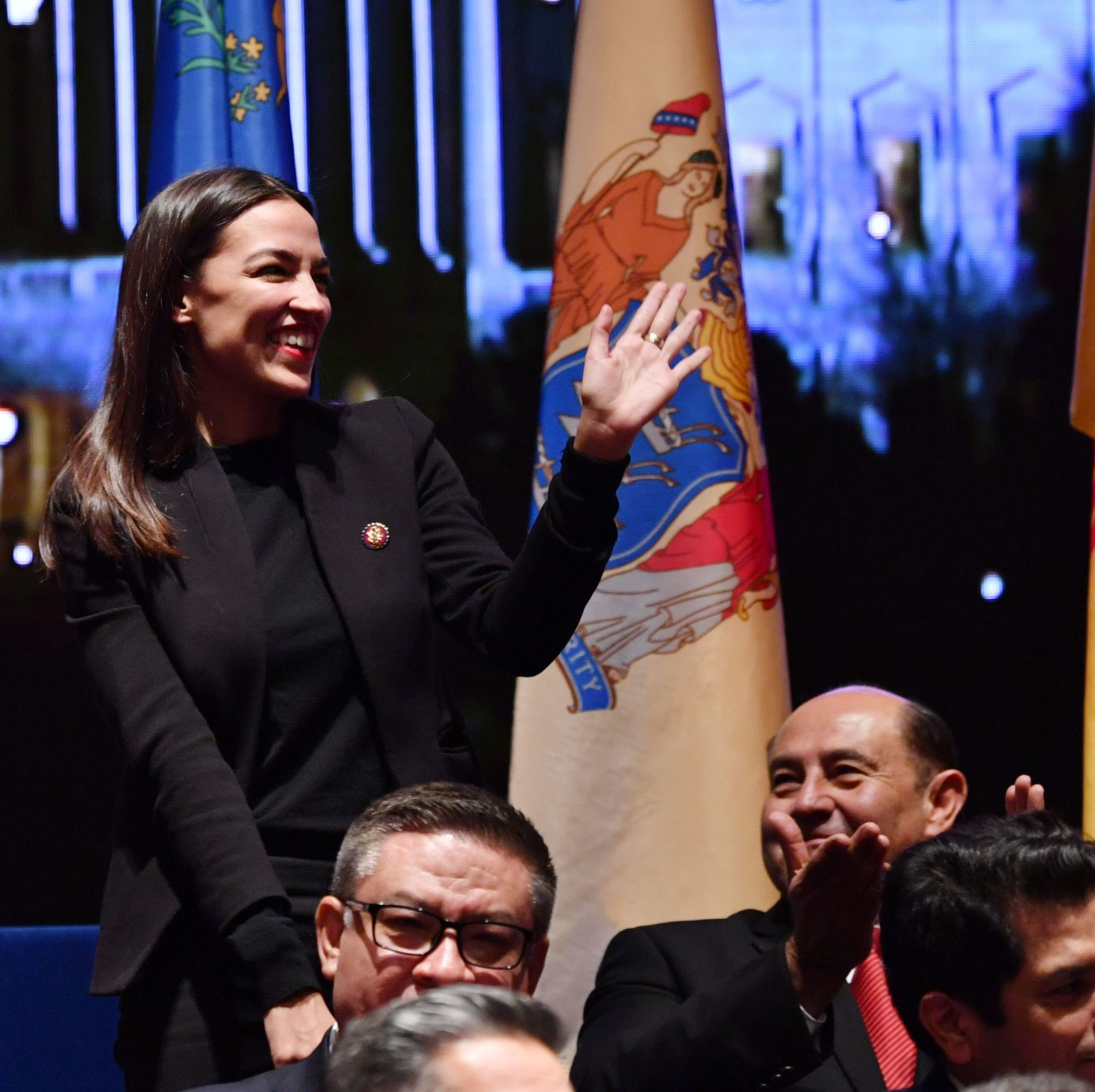 New York Rep. Alexandria Ocasio-Cortez attends a swearing-in ceremony and welcome reception for new Hispanic members of the U.S. Congress in Washington, D.C., on January 9, 2019.