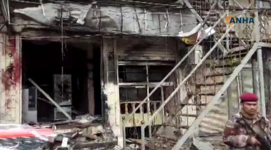 An explosion damaged a restaurant in Manbij, Syria, on Jan. 16.