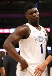 Duke Blue Devils forward Zion Williamson (1) reacts is a projected lottery pick in this summer's NBA draft.