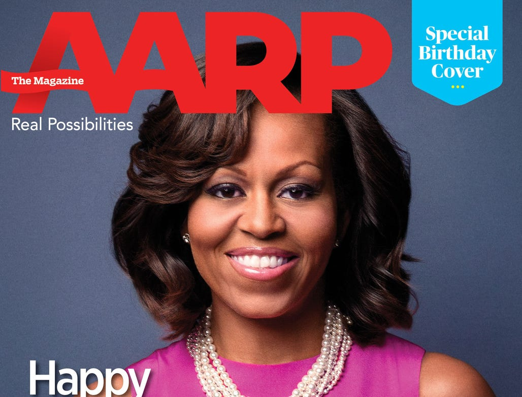AARP releases special mock cover of AARP The Magazine to celebrate First Lady Michelle Obama's 50th Birthday.  (PRNewsFoto/AARP) ORG XMIT: PRN13